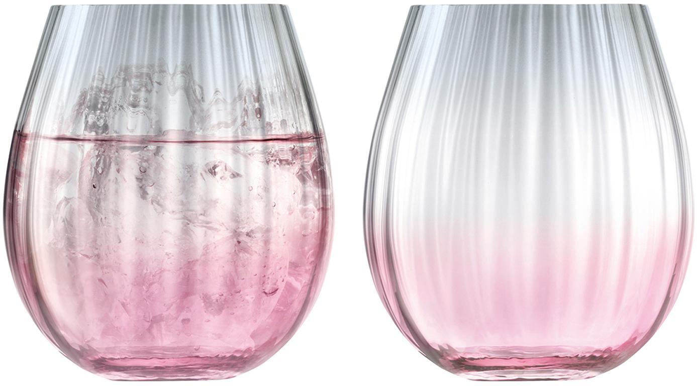 Handgemaakte waterglazen Dusk met kleurverloop, 2-delig, Glas, Roze, grijs, Ø 9 x H 10 cm