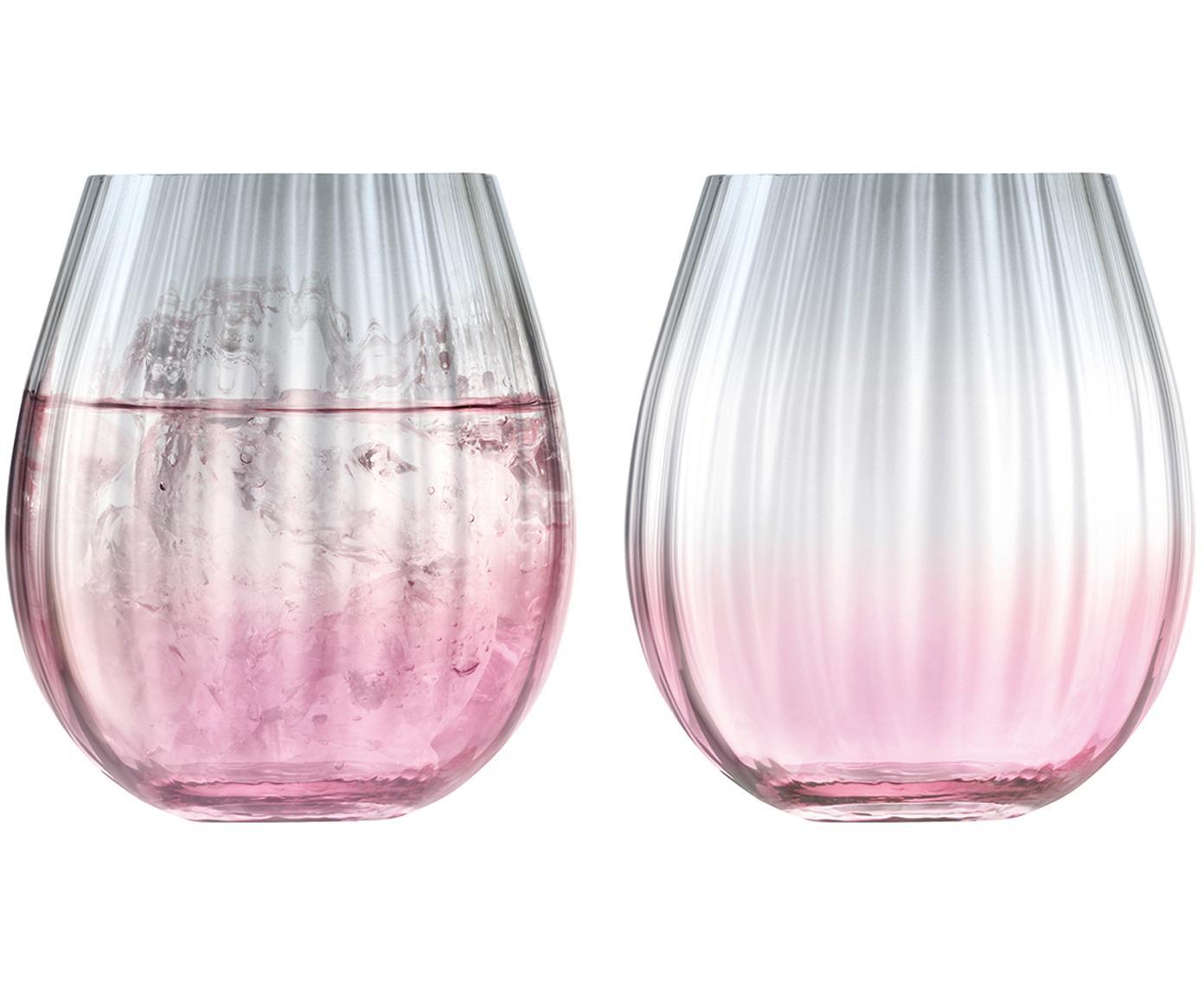 Komplet ręcznie wykonanych szklanek do wody Dusk, 2 elem., Szkło, Blady różowy, szary, Ø 9 x W 10 cm