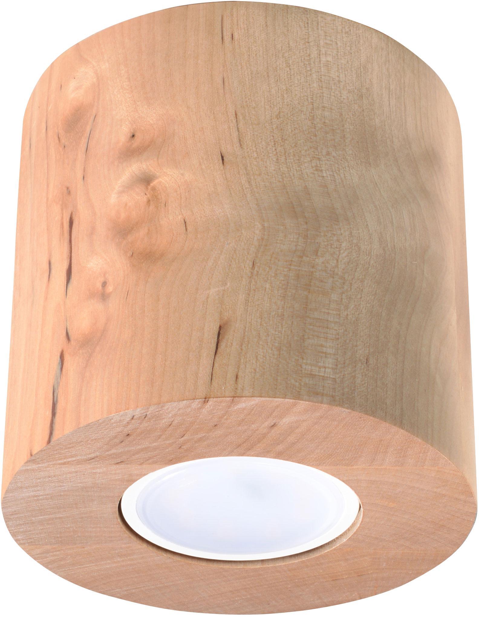 Plafondlamp Roda van hout, Diffuser: kunststof, Lichtbruin, Ø 10 x H 12 cm