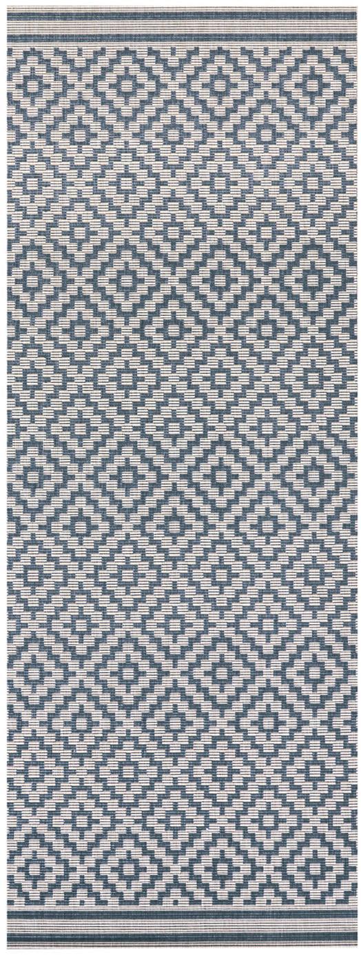 In- & Outdoor-Läufer Meadow Raute mit grafischem Muster, Blau, Creme, 80 x 200 cm