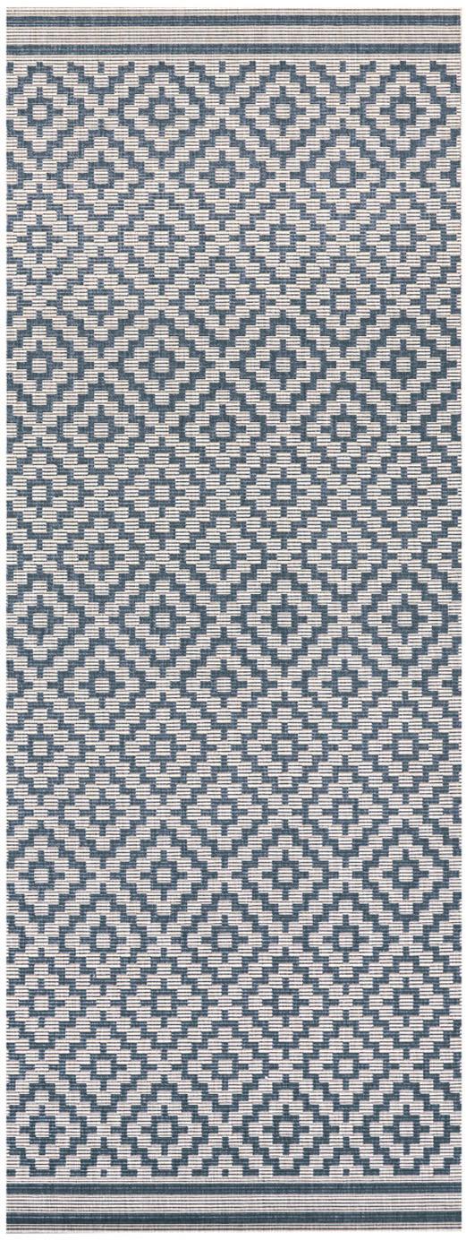 Dywan wewnętrzny/zewnętrzny Meadow Raute, Niebieski, kremowy, S 80 x D 200 cm