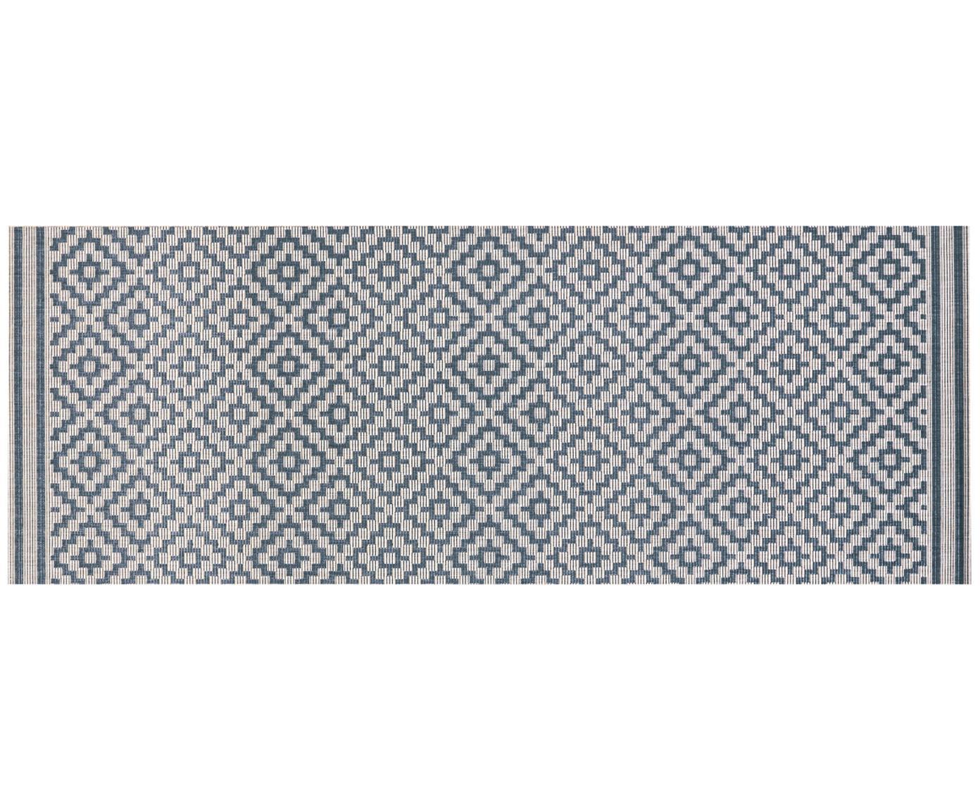 Passatoia da interno-esterno Meadow Raute, Blu, crema, Larg. 80 x Lung. 200 cm