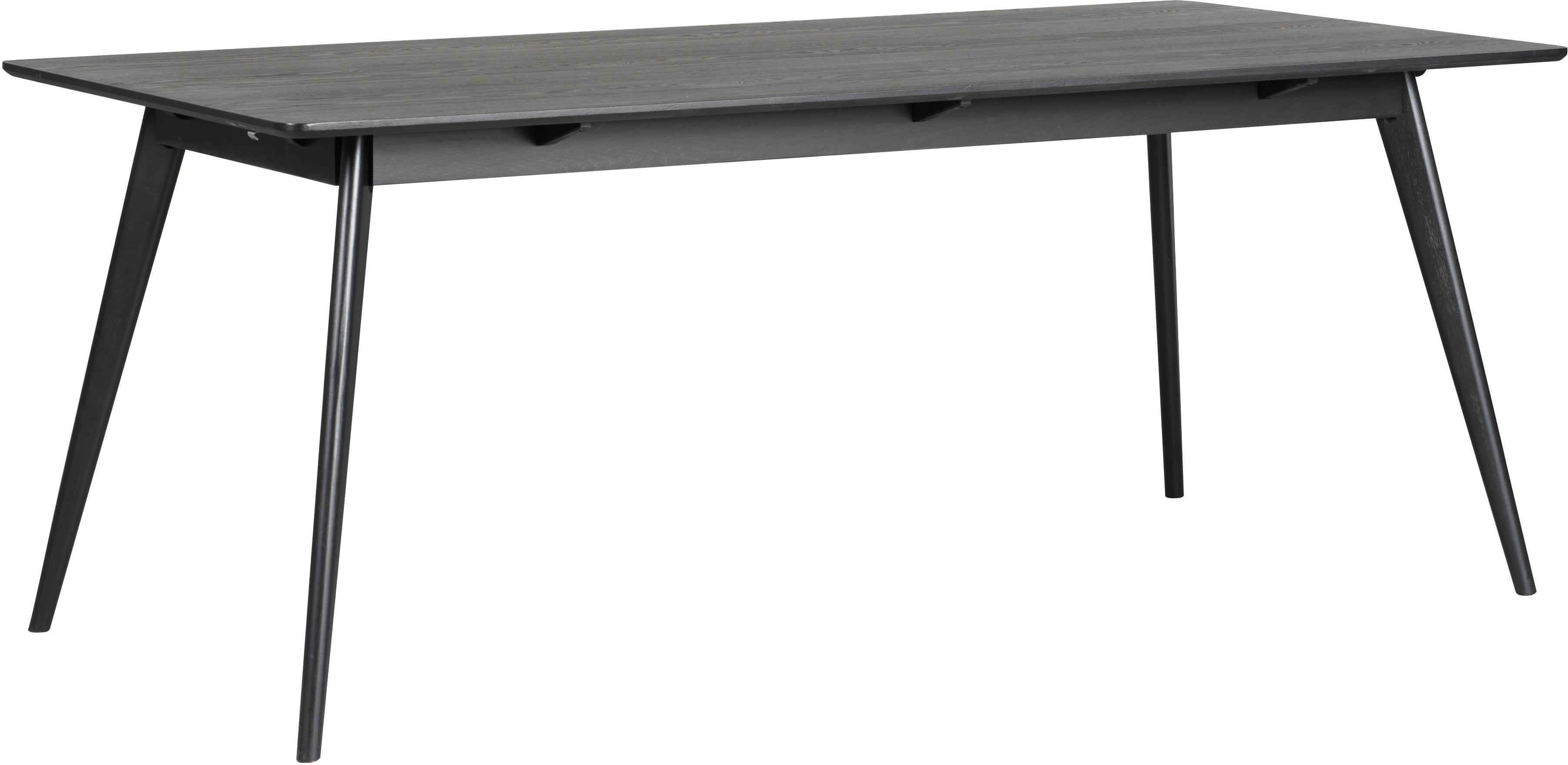 Houten eettafel Yumi in zwart, Tafelblad: MDF, gelakt essenhoutfine, Poten: massief gebeitst rubberho, Mat zwart, B 190 x D 90 cm