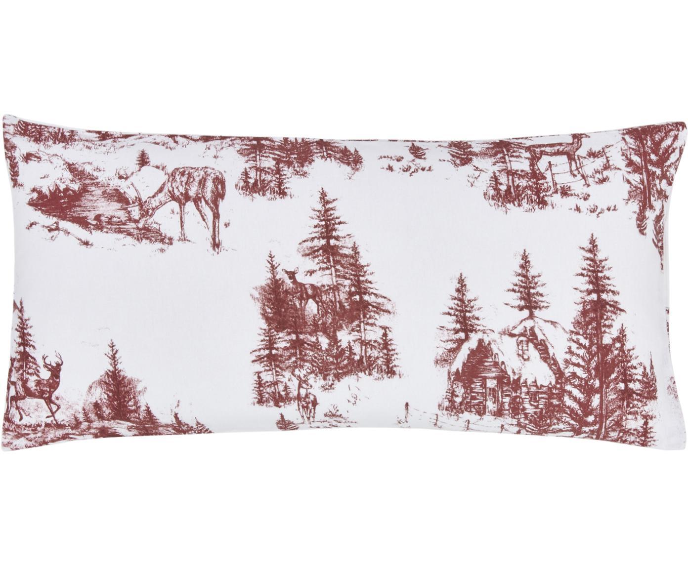 Flanell-Kissenbezüge Nordic mit winterlichem Motiv, 2 Stück, Webart: Flanell Flanell ist ein s, Rot, Weiß, 40 x 80 cm