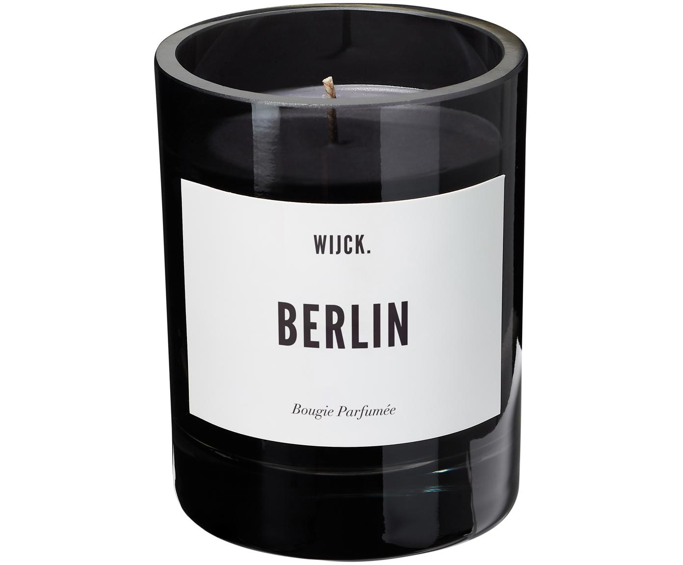 Geurkaars Berlin (groene citroen, meiklokjes & muskus), Houder: mondgeblazen glas, Zwart, Ø 8 x H 11 cm