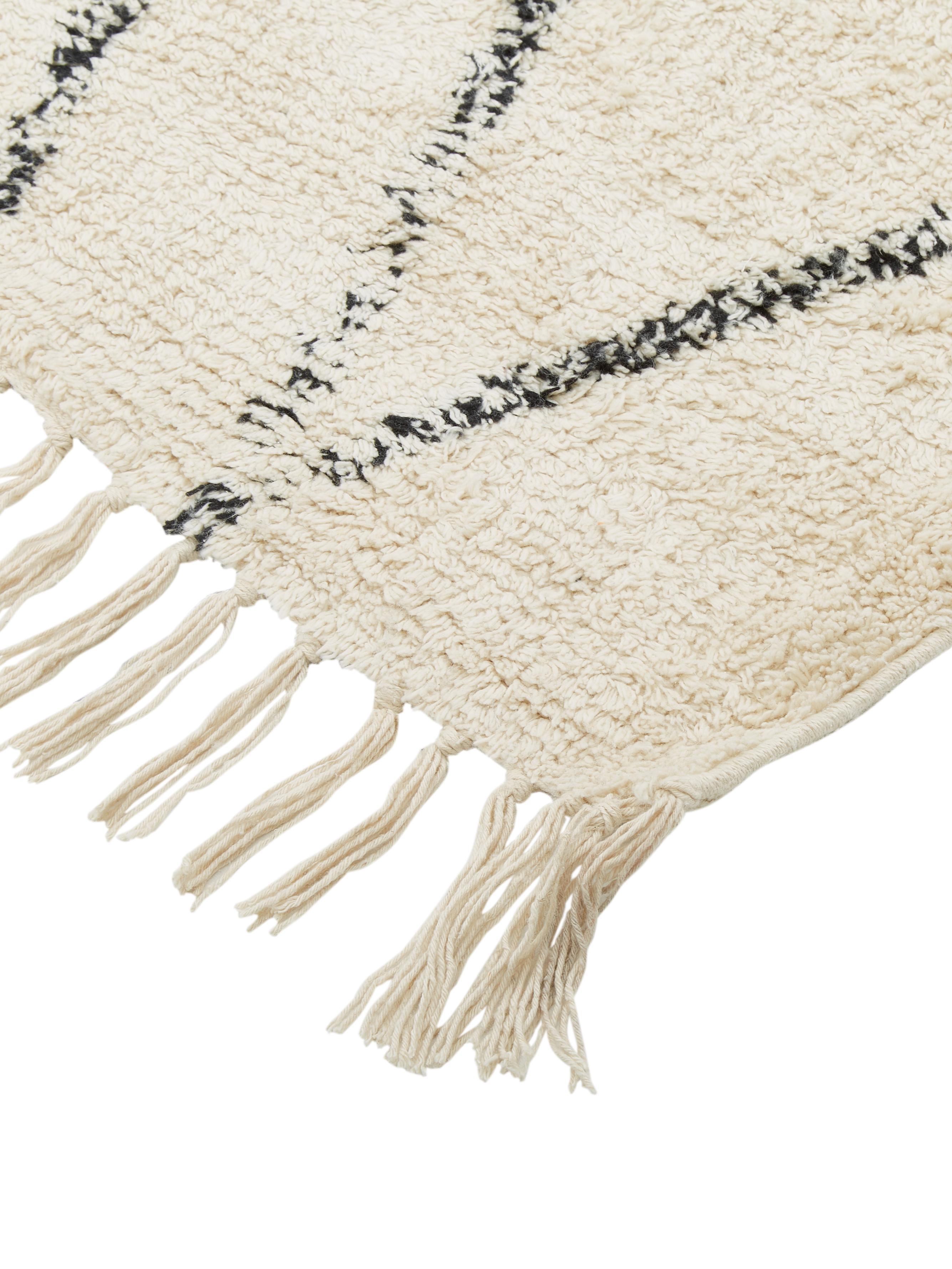 Alfombra artesanal de algodón Bina, Beige, negro, An 200 x L 300 cm (Tamaño L)