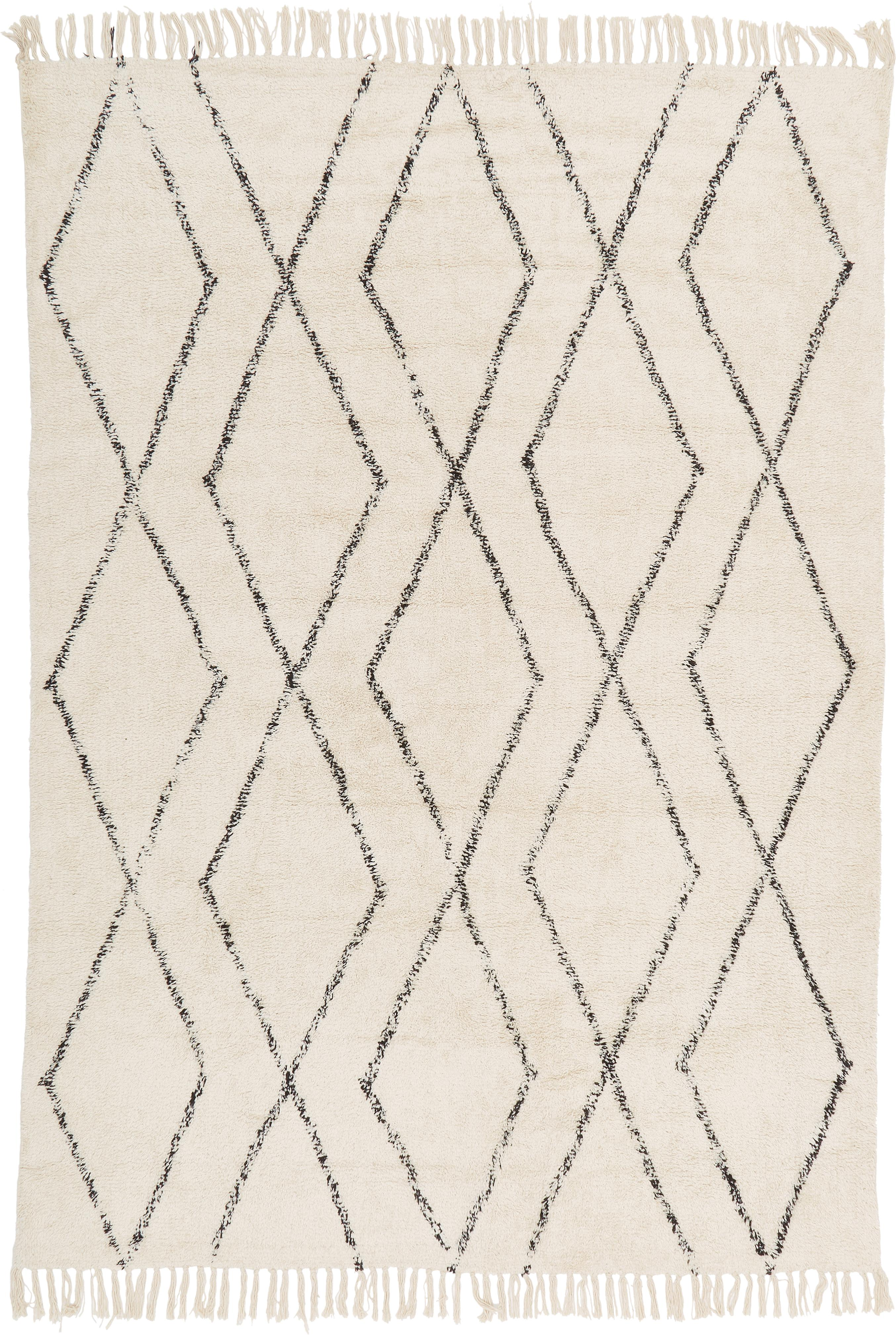 Handgetufteter Baumwollteppich Bina mit Rautenmuster, Beige, Schwarz, B 120 x L 180 cm (Grösse S)