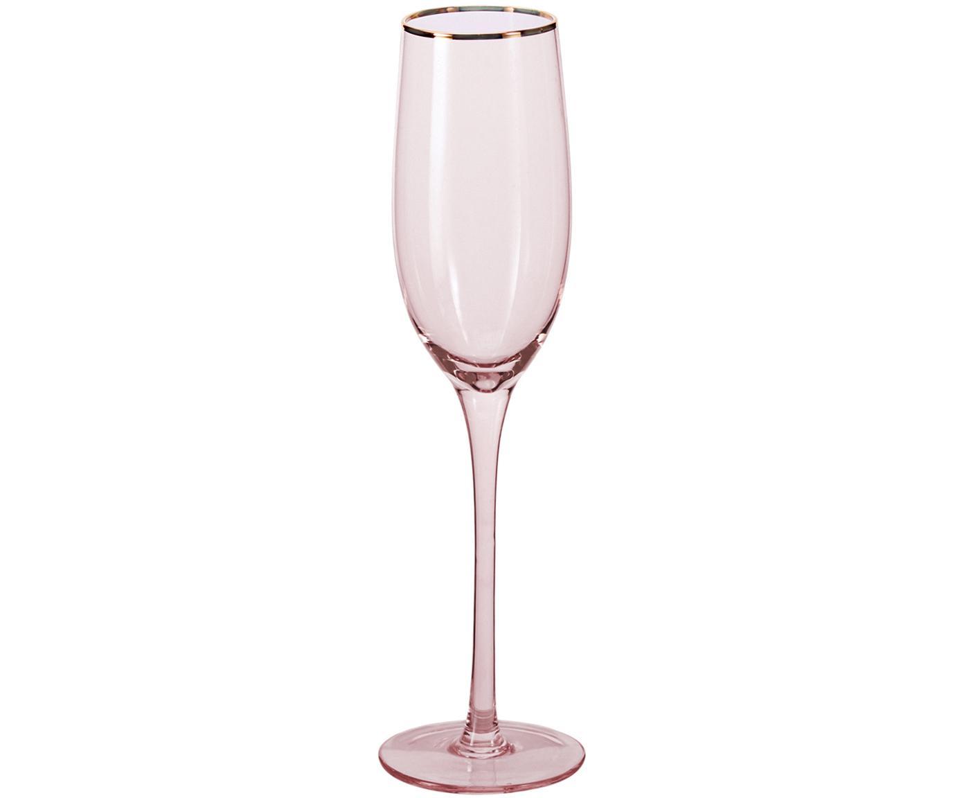 Kieliszek do szampana Chloe, 4 elem., Szkło, Brzoskwiniowy, Ø 7 x W 25 cm