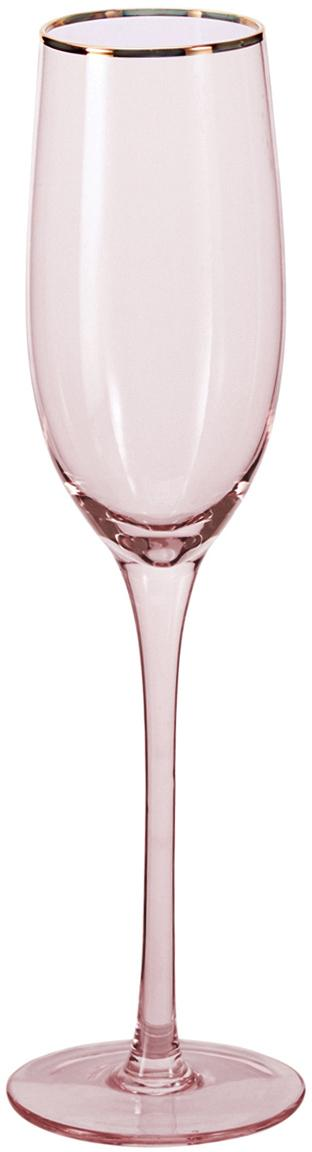 Sektgläser Chloe in Rosa mit handbemaltem Goldrand, 4er-Set, Glas, Pfirsich, Ø 7 x H 25 cm