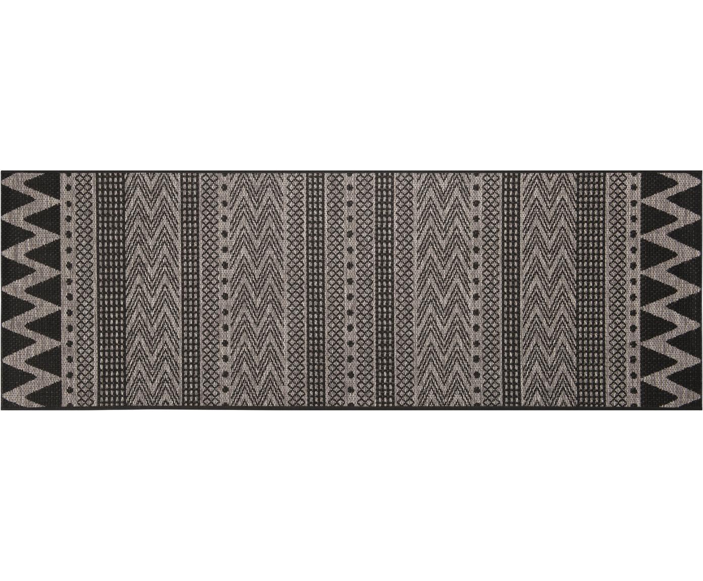 In- en outdoor loper Sidon met grafisch patroon, Polypropyleen, Beige, zwart, 70 x 200 cm