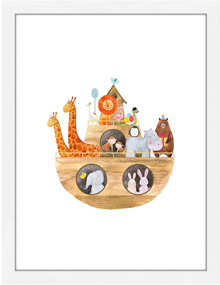 Gerahmter Digitaldruck Arche Noah, Bild: Digitaldruck auf Papier, , Rahmen: Holz, lackiert, Front: Plexiglas, Weiß, Mehrfarbig, 33 x 43 cm