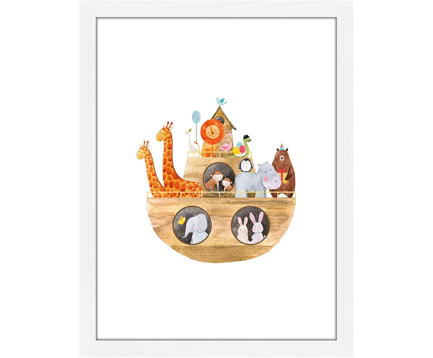 Ingelijste digitale print Noah's Ark, Lijst: gelakt hout, Wit, multicolour, 33 x 43 cm
