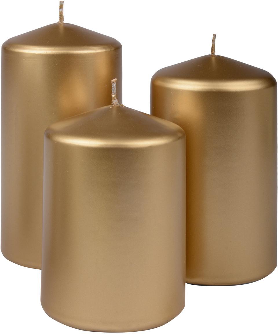 Set de velas pilar Parilla, 3pzas., Cera, Dorado, Set de diferentes tamaños