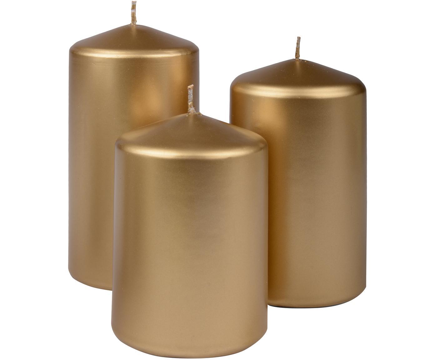 Komplet świec stołowych Parilla, 3 elem., Wosk, Odcienie złotego, Różne rozmiary