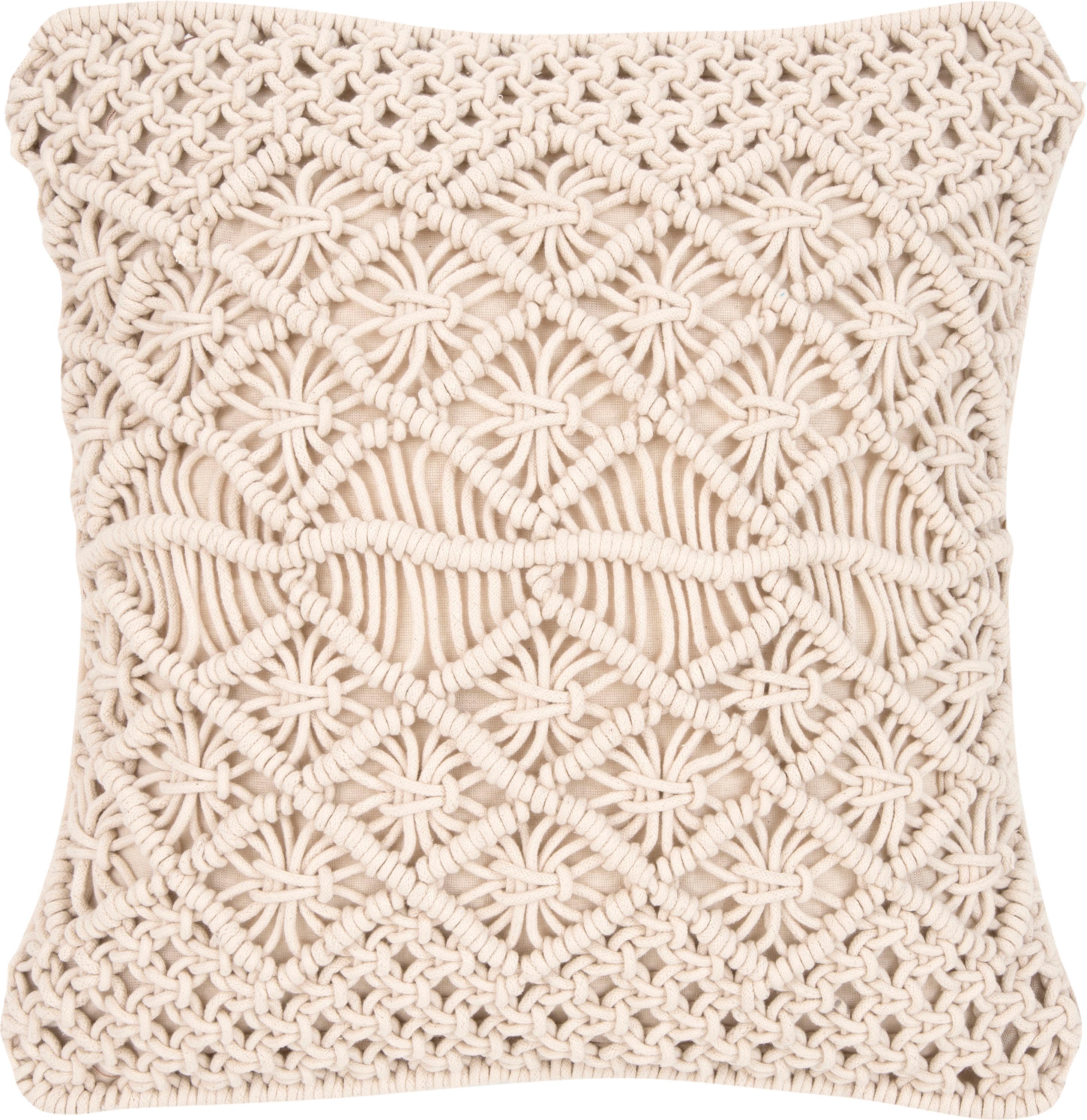 Funda de cojín de macramé Nalina, 100%algodón, Crudo, An 45 x L 45 cm