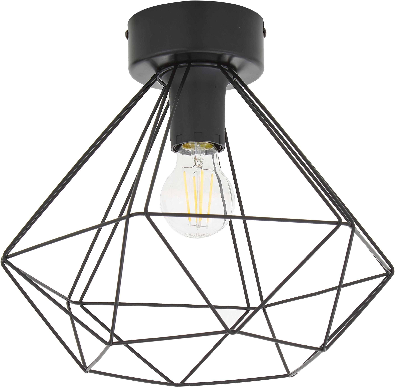Plafondlamp Tarbes, Staal, Zwart, Ø 33 x H 28 cm