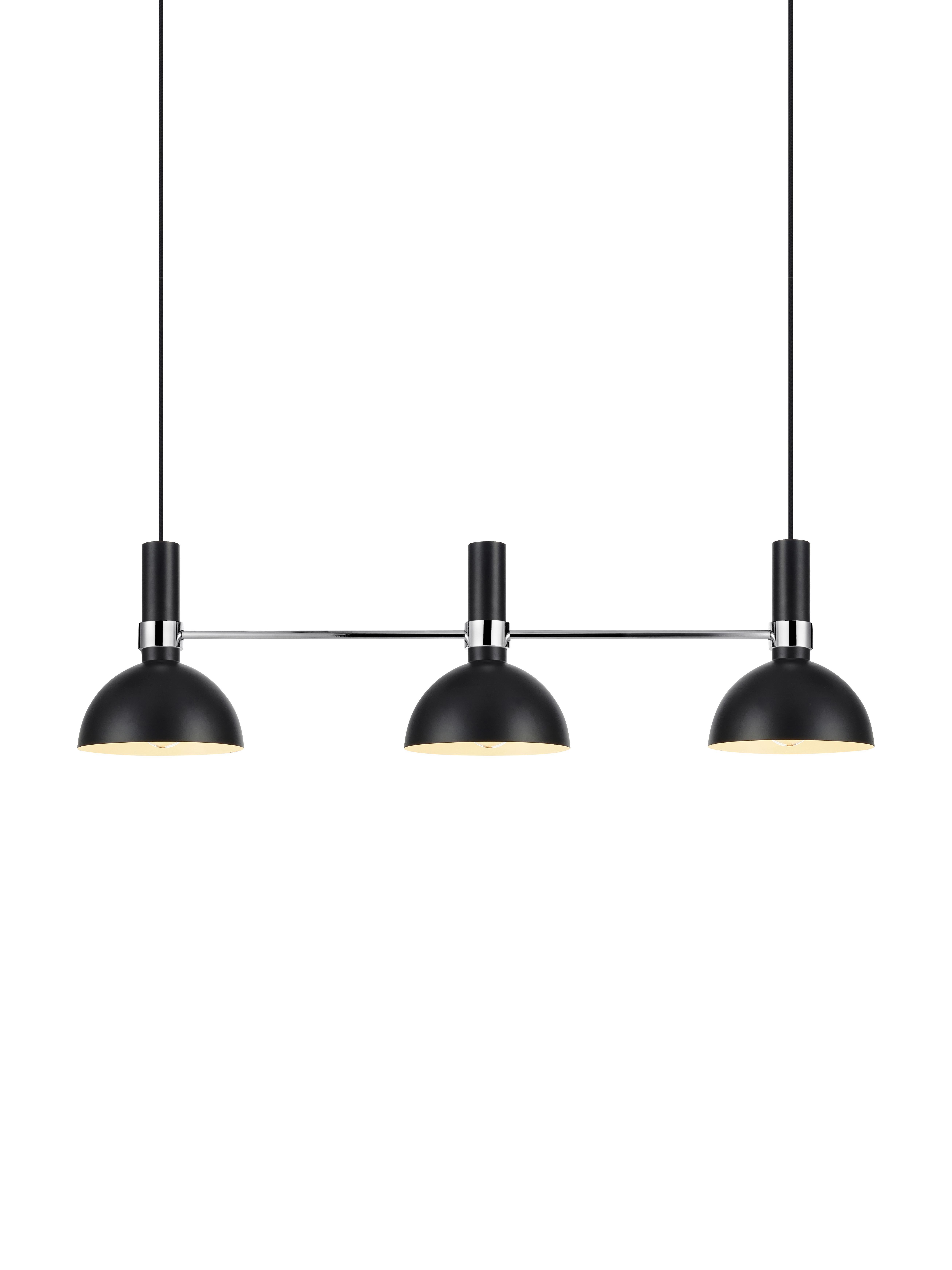 Lámpara de techo de diseño Larry, Fijación: latón cromado, Cable: cubierto en tela, Negro, cromo, An 100 x Al 24 cm
