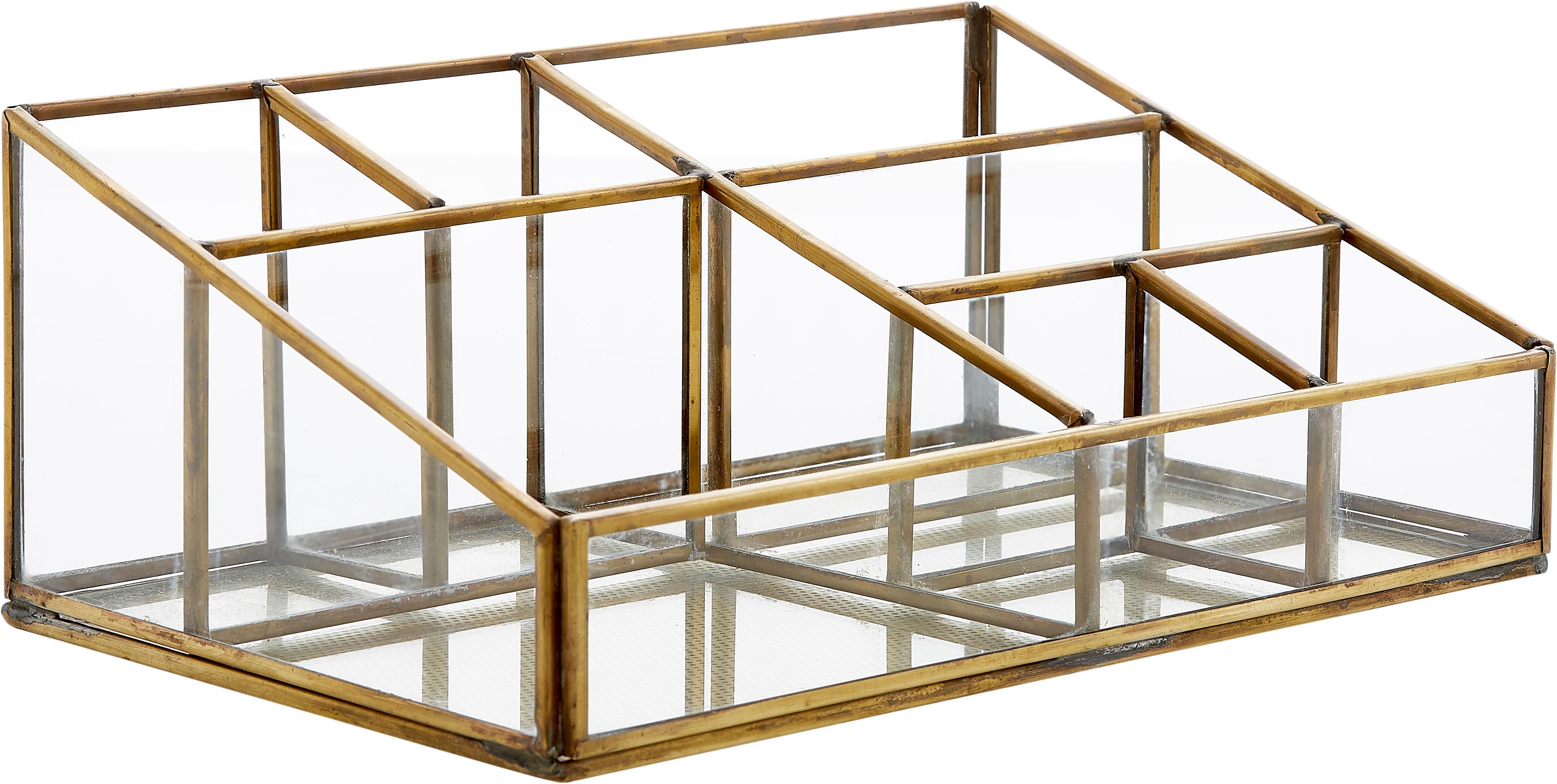 Organizer Sorted, Glas, metaal, Messingkleurig, 15 x 9 cm
