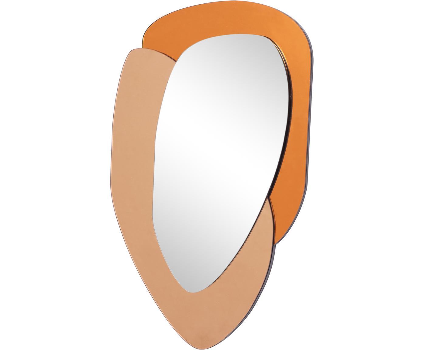 Wandspiegel Layer, Spiegelglas, Oranje, karamelbruin, spiegelglas, 48 x 76 cm