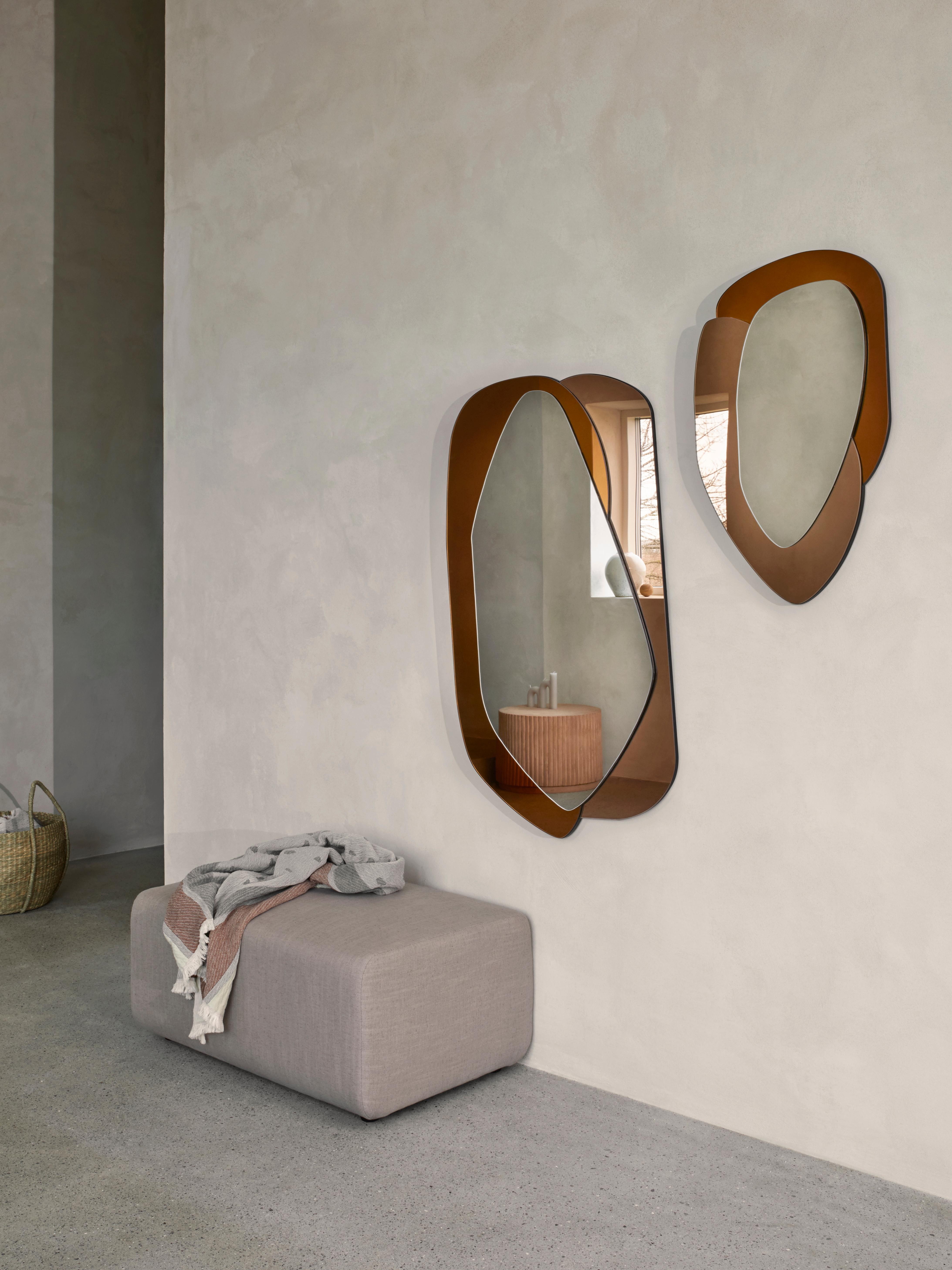 Wandspiegel Layer met lijst van gekleurd glas, Spiegelglas, Oranje, karamelbruin, spiegelglas, 48 x 76 cm