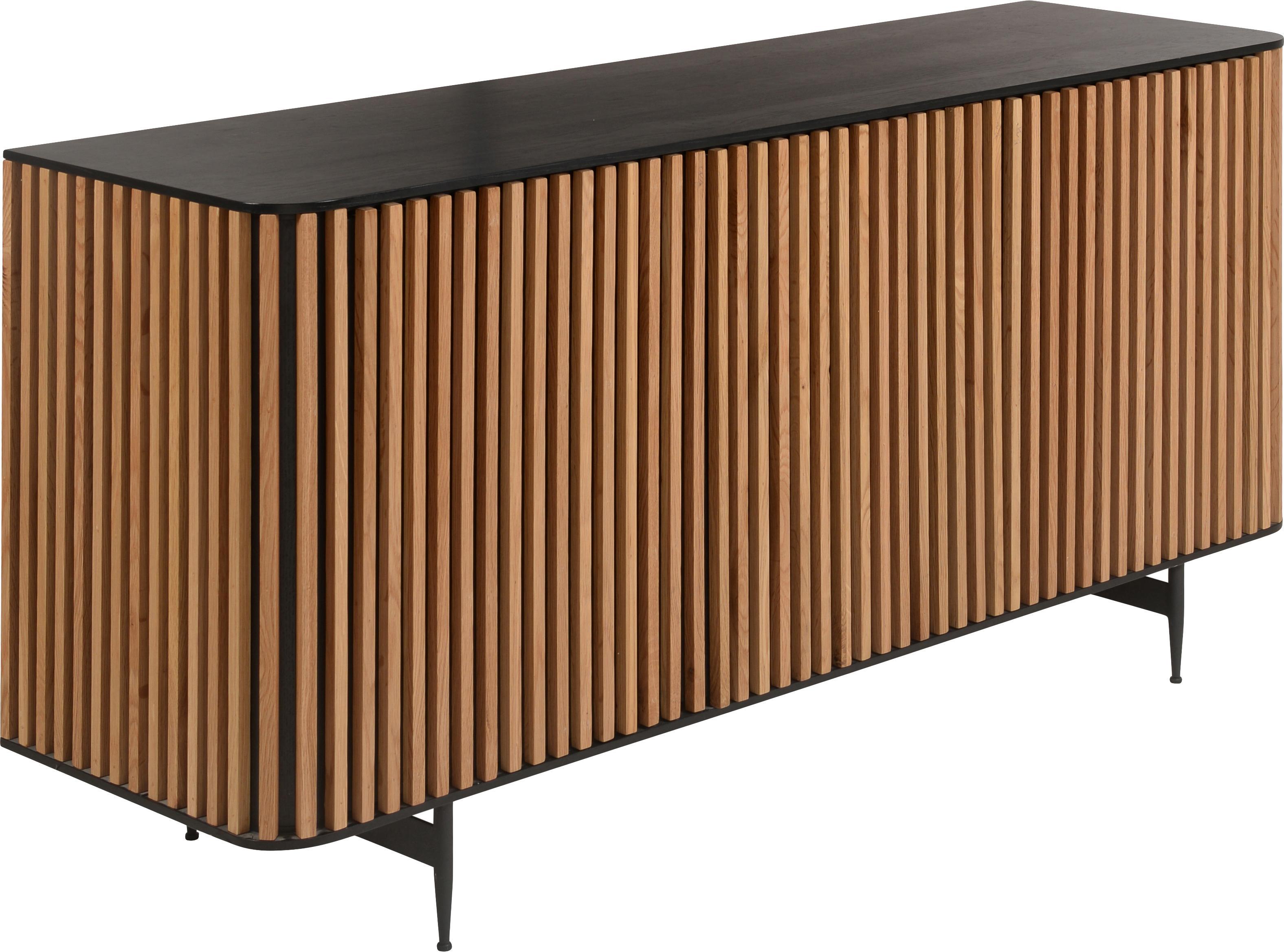 Komoda Linea, Korpus: płyta pilśniowa (MDF) z f, Nogi: metal lakierowany, Czarny, drewno dębowe, S 159 x W 74 cm