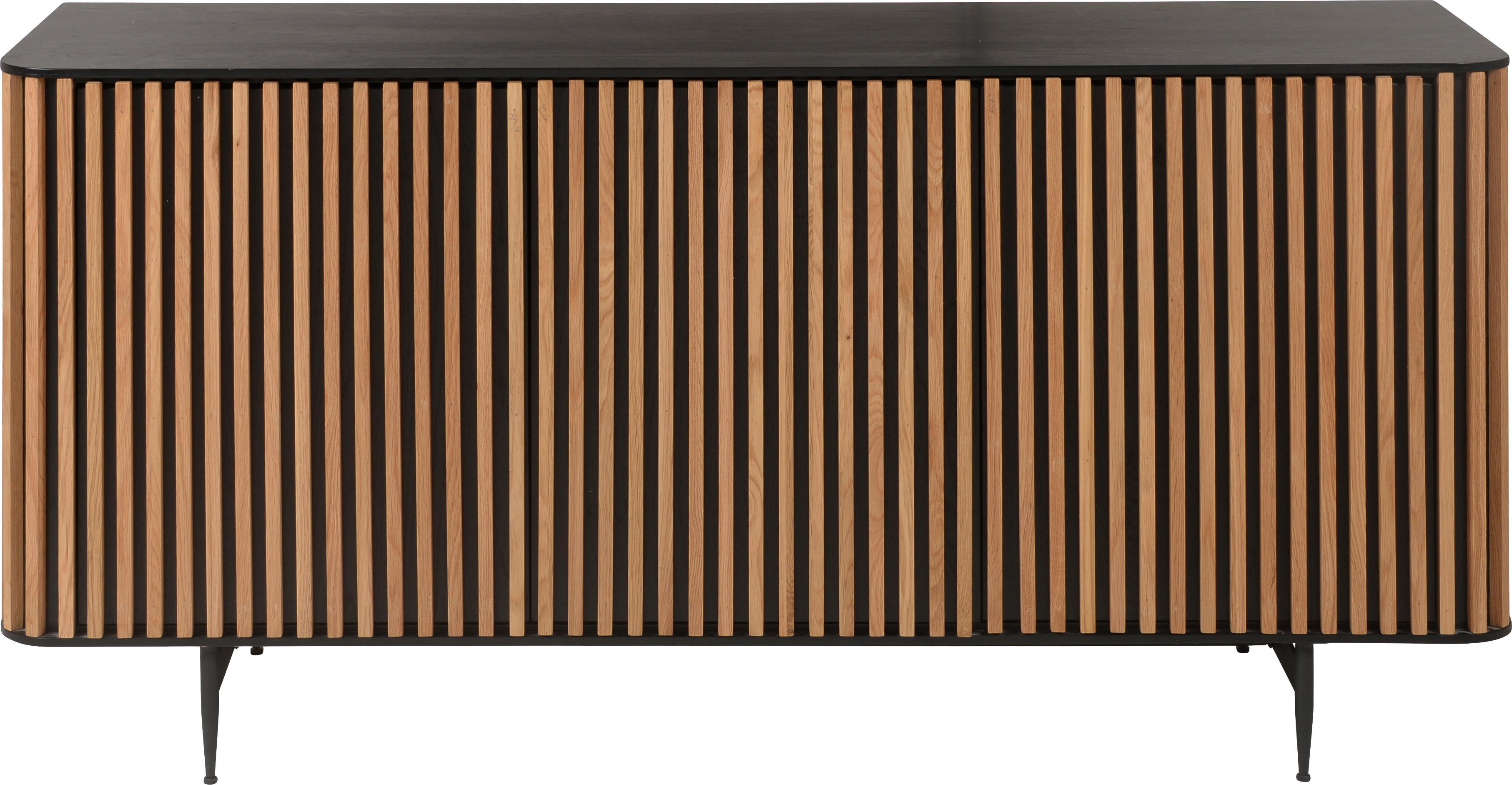 Design-Sideboard Linea mit Eichenholzfurnier, Korpus: Mitteldichte Holzfaserpla, Füße: Metall, lackiert, Schwarz, Eichenholz, 159 x 74 cm