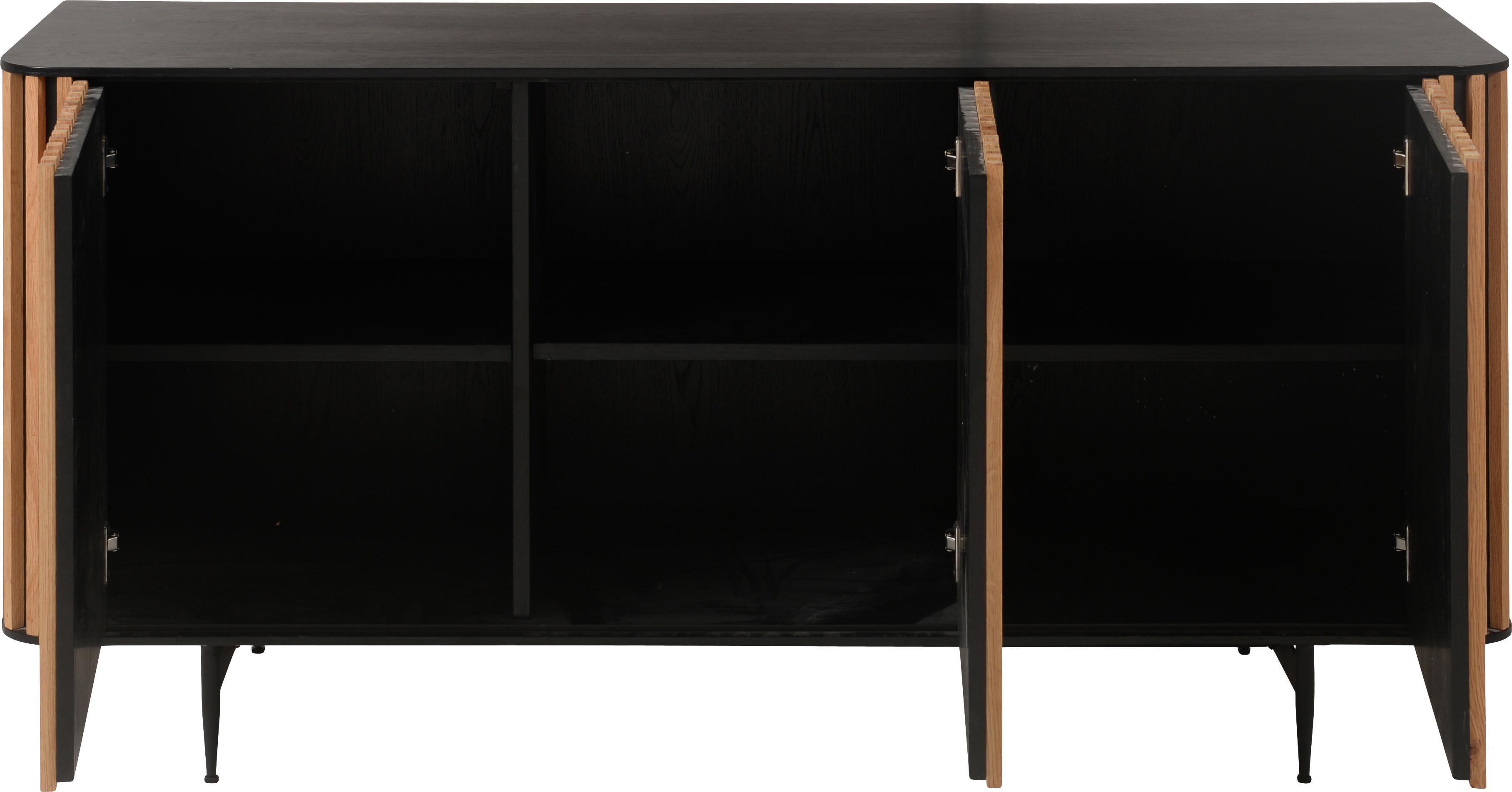 Designová skříňka sdubovou dýhou Linea, Černá, dub
