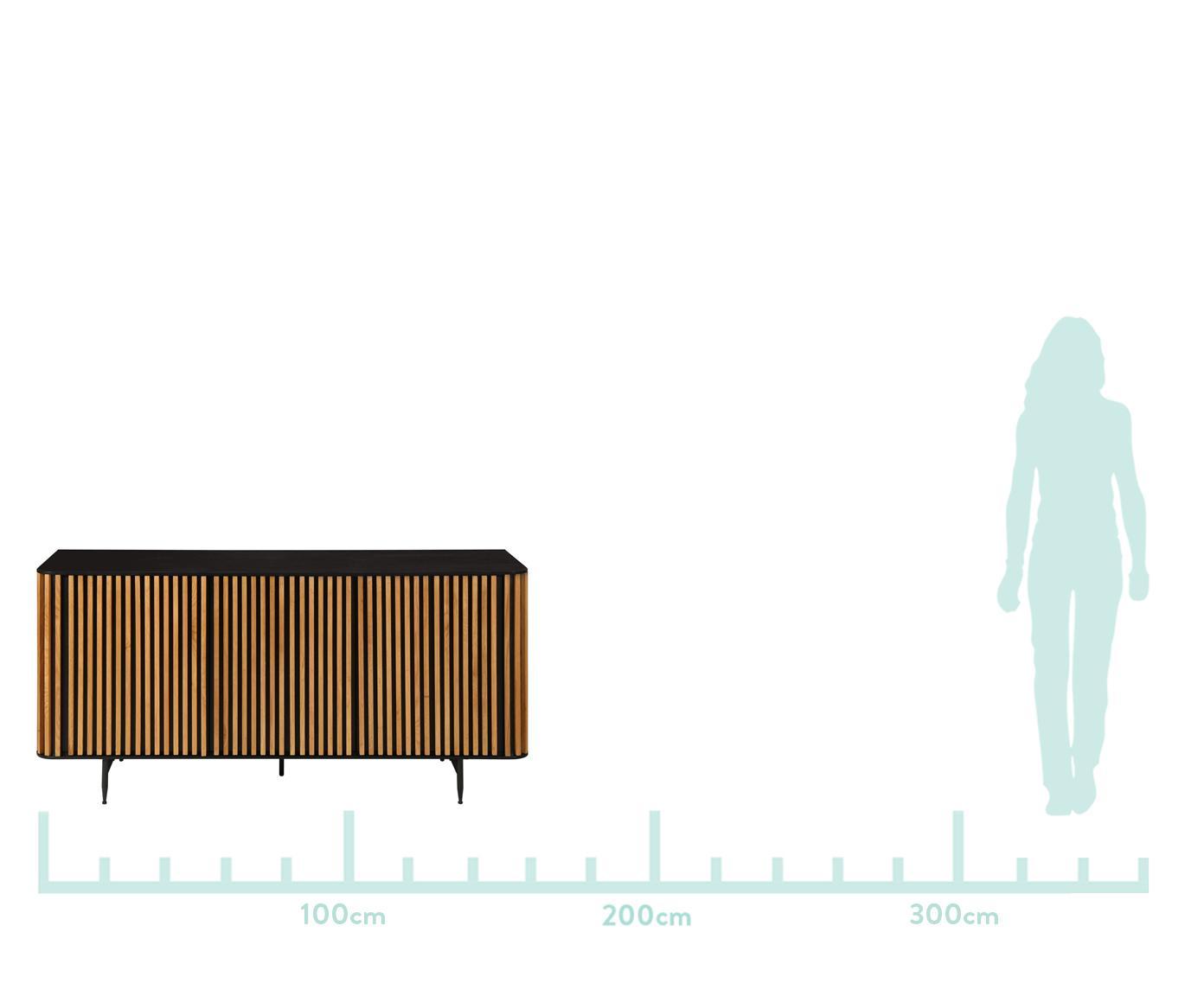 Aparador en roble de diseño Linea, Estructura: tablero de fibras de dens, Patas: metal pintado, Negro, roble, An 159 x Al 74 cm