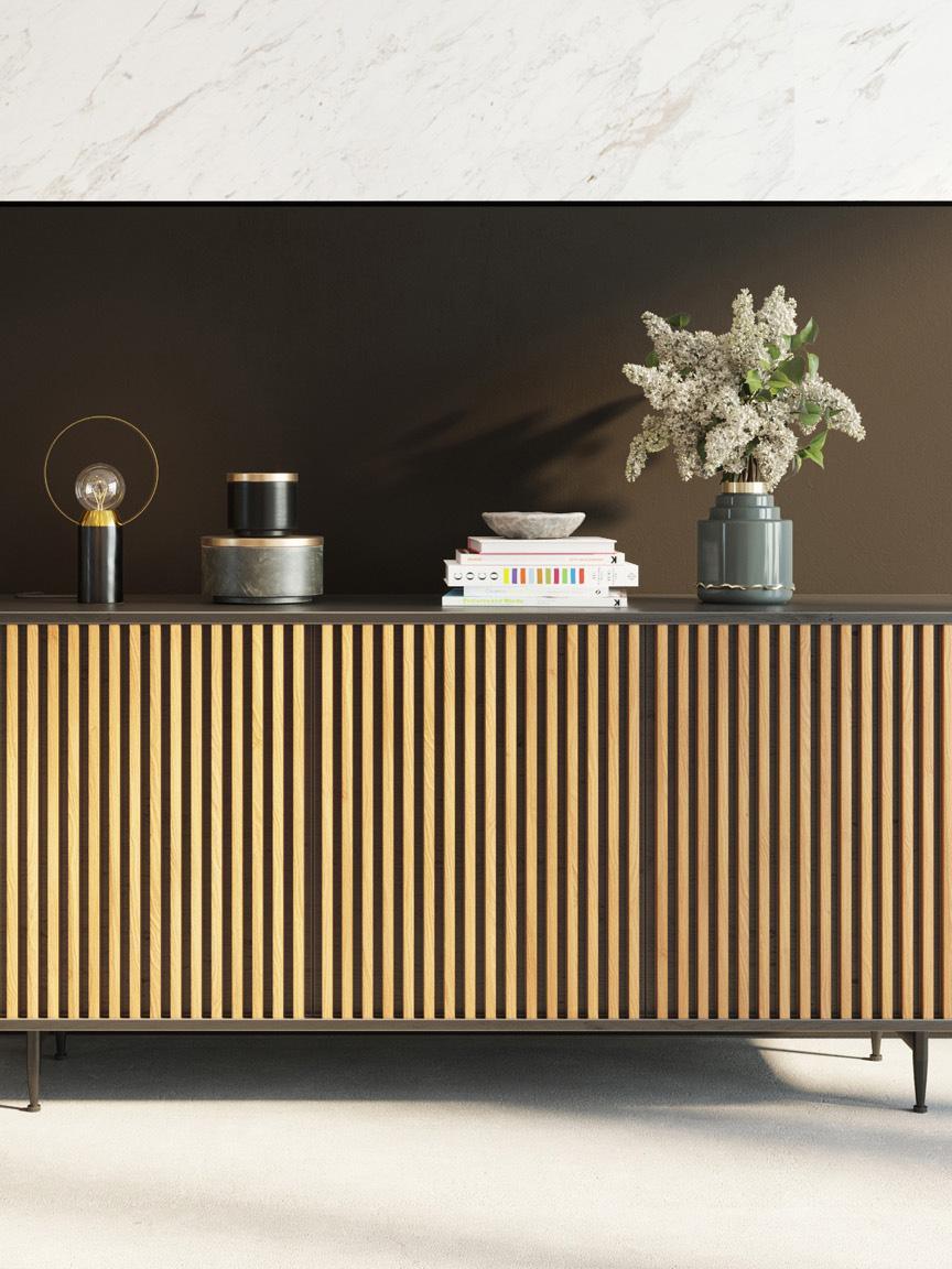 Design dressoir Linea met eikenhoutfineer, Frame: MDF met gelakt eikenhoutf, Poten: gelakt metaal, Zwart, eikenhoutkleurig, 159 x 74 cm