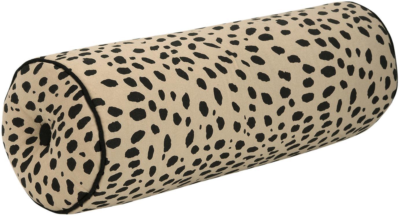 Poduszka wałek z wypełnieniem Leopard, 100% bawełna, Poduszka wałek: beżowy, czarny Wykończenie brzegów: czarny, Ø 18 x D 50 cm