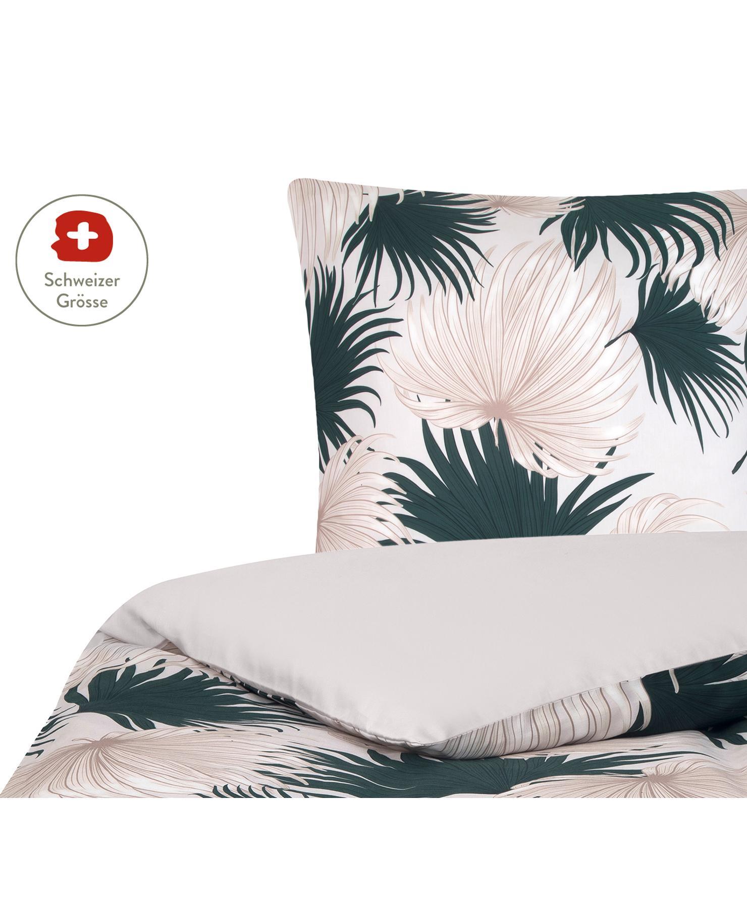 Baumwollsatin-Bettdeckenbezug Aloha mit Palmenblättern, Webart: Satin Fadendichte 210 TC,, Vorderseite: Beige, Grün Rückseite: Beige, 160 x 210 cm