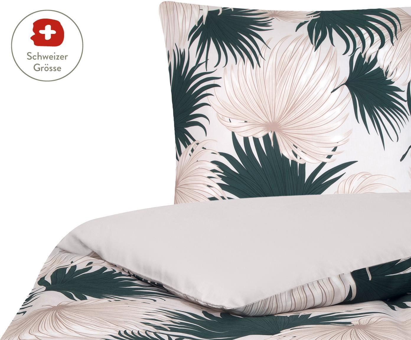 Baumwollsatin-Wendebettdeckenbezug Aloha mit Palmenblättern, Webart: Satin, Vorderseite: Beige, Grün Rückseite: Beige, 160 x 210 cm