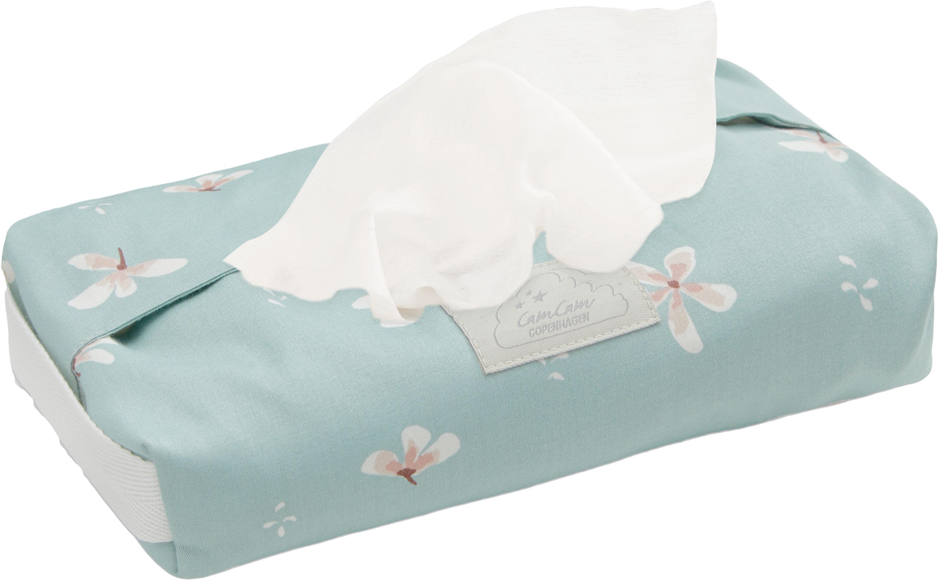 Estuche toallitas de algodón ecológico Wildflower, Funda: 100%algodón ecológico, c, Asa: 100%lino, Azul claro, crema, rosa, An 25 x Al 5 cm