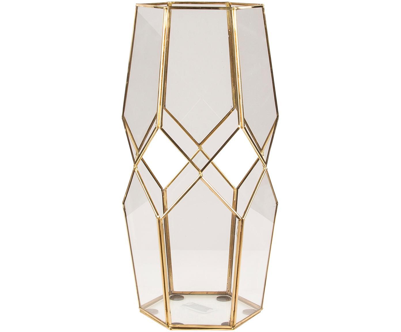 Portacandela Peter, Ottone, vetro, Trasparente, ottone, Alt. 40 cm