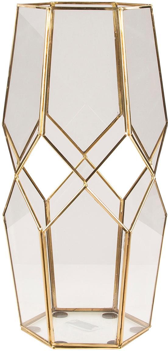 Windlicht Diamond, Messing, Glas, Transparent, Messing, H 40 cm