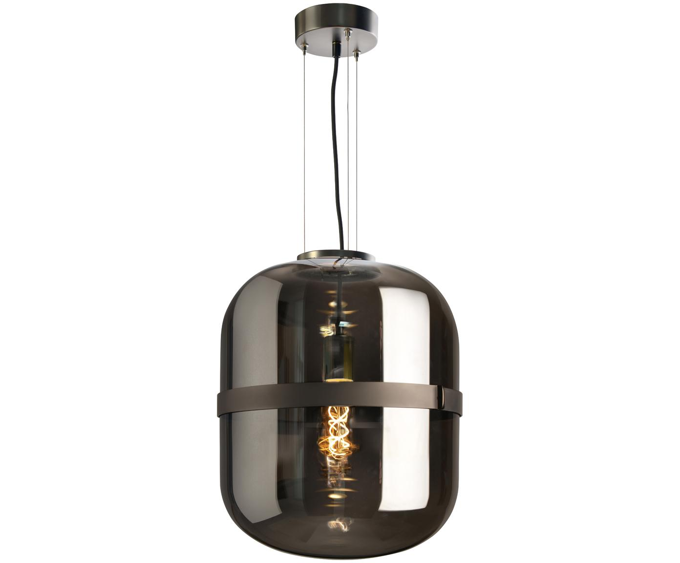 Pendelleuchte Baloni aus Rauchglas, Lampenschirm: Glas, Dunkelgrau, Ø 34 x H 45 cm