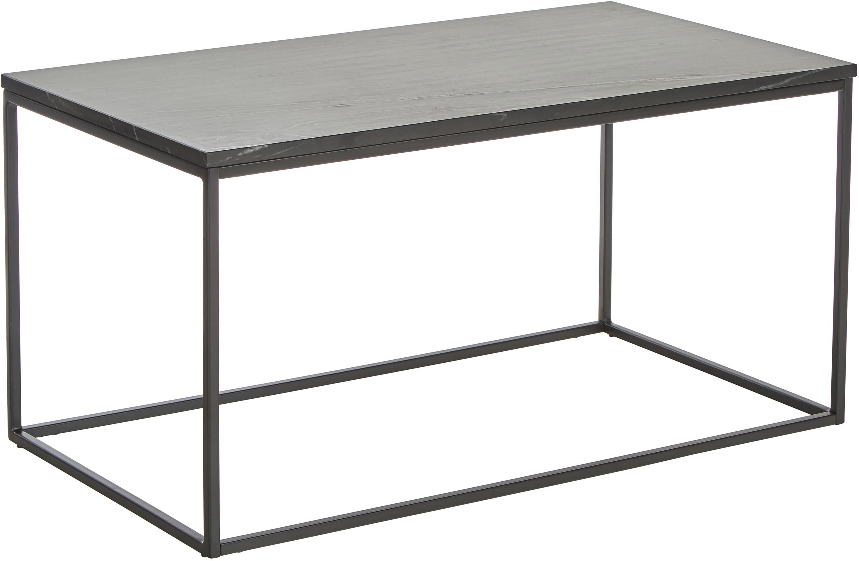 Marmeren salontafel Alys, Tafelblad: marmer, Frame: gepoedercoat metaal, Tafelblad: zwart marmer, licht glanzend. Frame: mat zwart, 80 x 45 cm