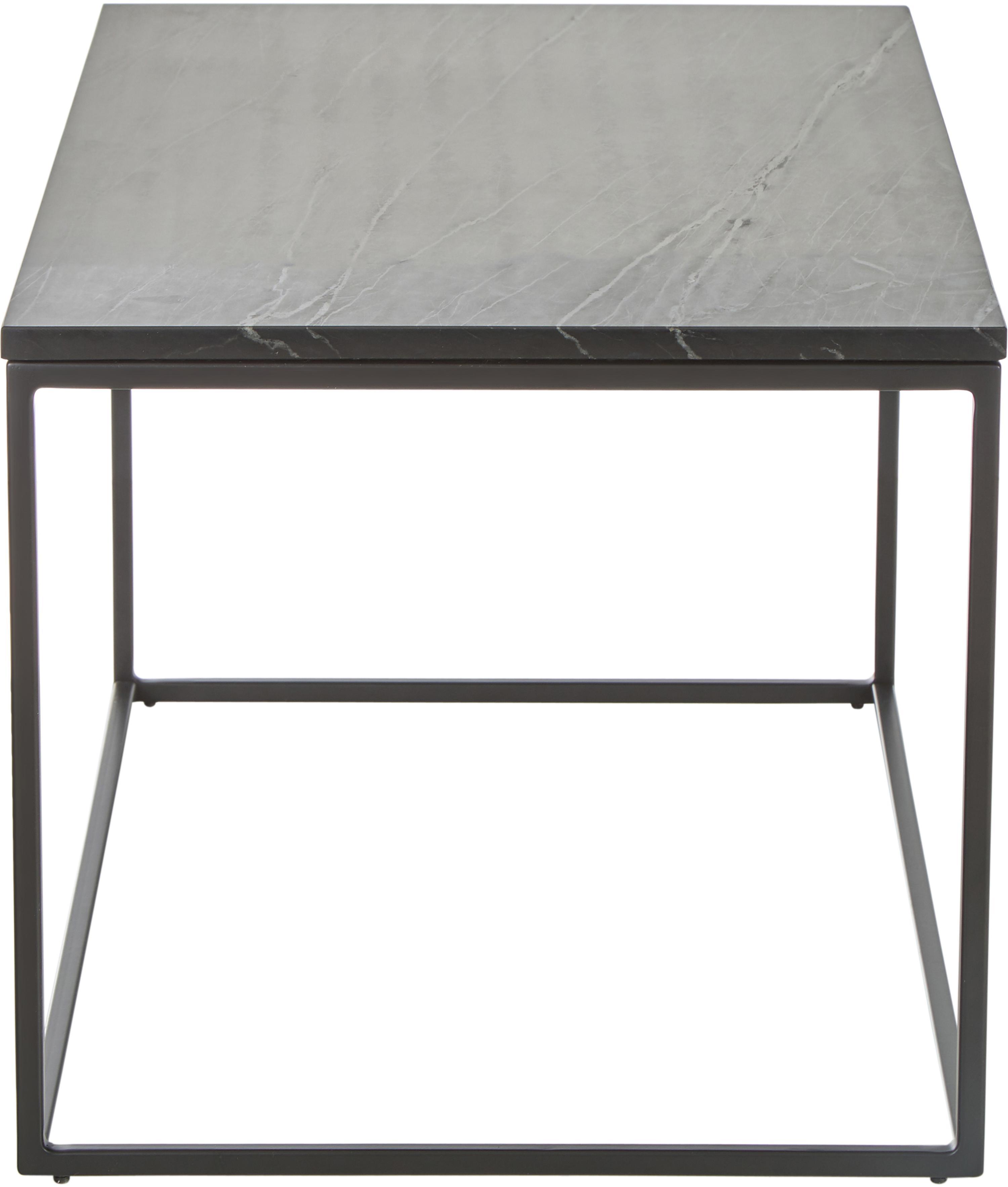 Marmor-Couchtisch Alys, Tischplatte: Marmor, Gestell: Metall, pulverbeschichtet, Tischplatte: Schwarzer Marmor, leicht glänzendGestell: Schwarz, matt, 80 x 45 cm