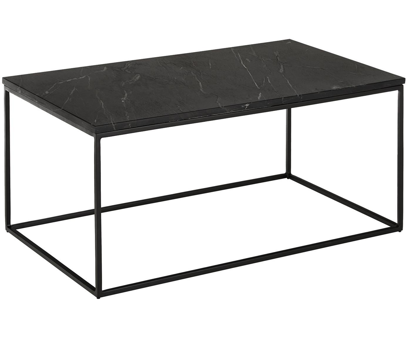 Marmor-Couchtisch Alys, Tischplatte: Marmor, Gestell: Metall, pulverbeschichtet, Tischplatte: Schwarzer Marmor, leicht glänzendGestell: Schwarz, matt, B 80 x H 45 cm