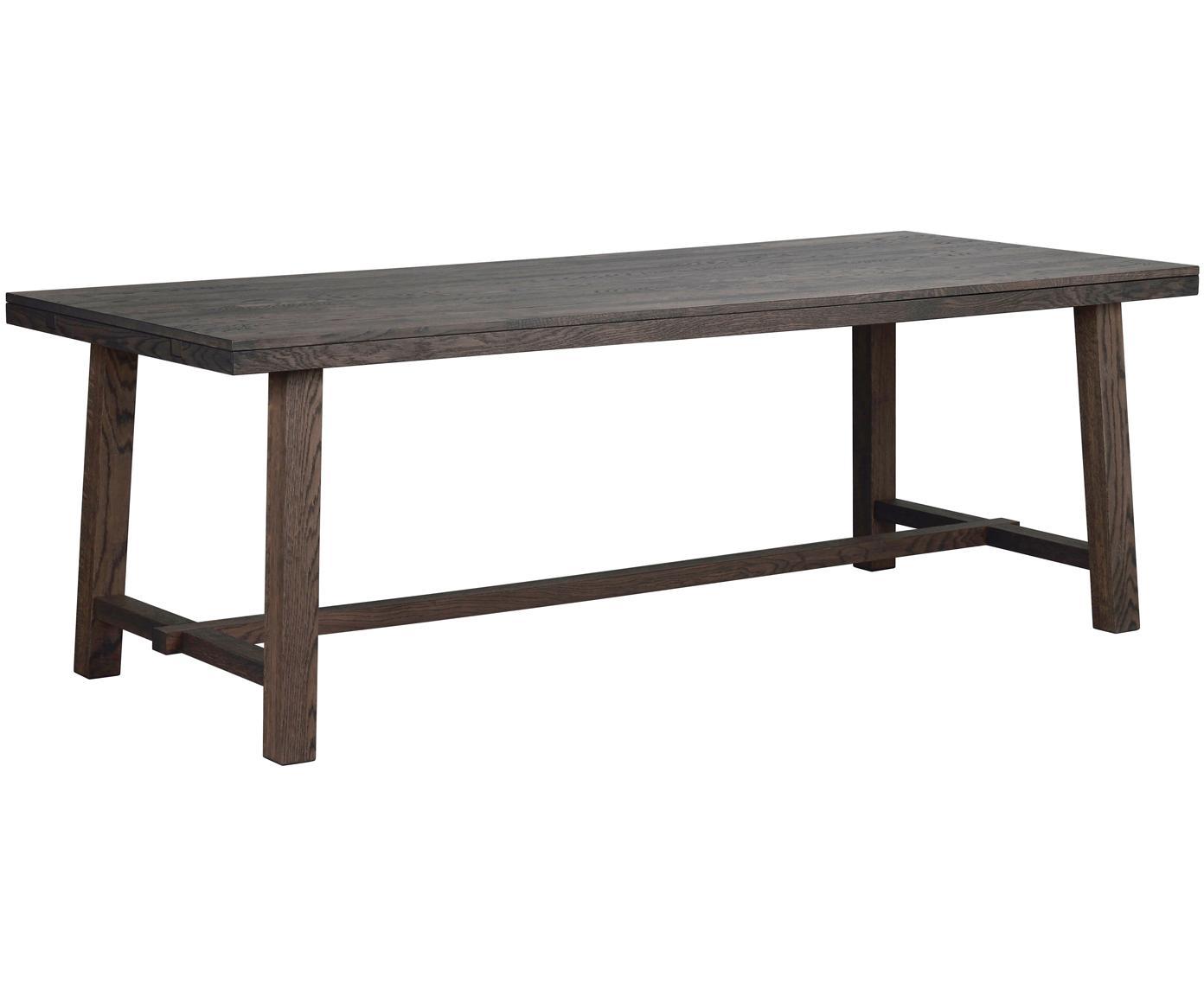 Tavolo in legno massello Brooklyn, Massiccio legno di quercia, verniciato e laccato trasparente, Legno di quercia, marrone scuro tinto, Larg. 220 x Prof. 95 cm