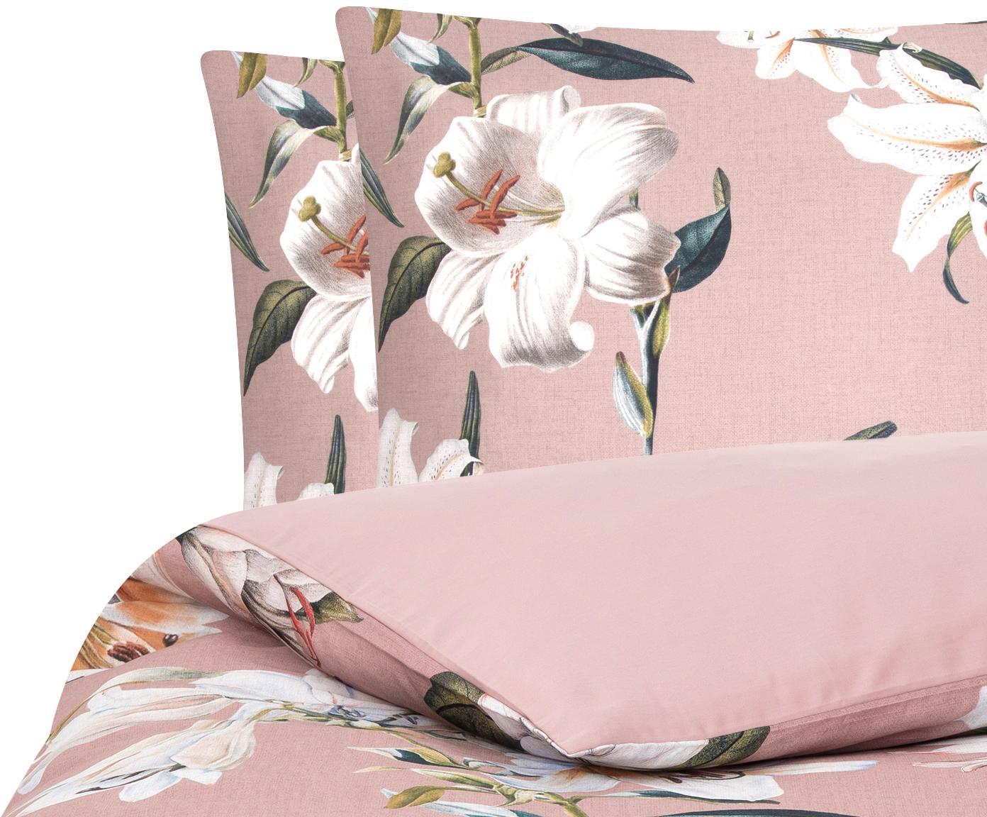 Pościel z satyny bawełnianej Flori, Przód: brudny różowy, kremowobiały Tył: brudny różowy, 240 x 220 cm