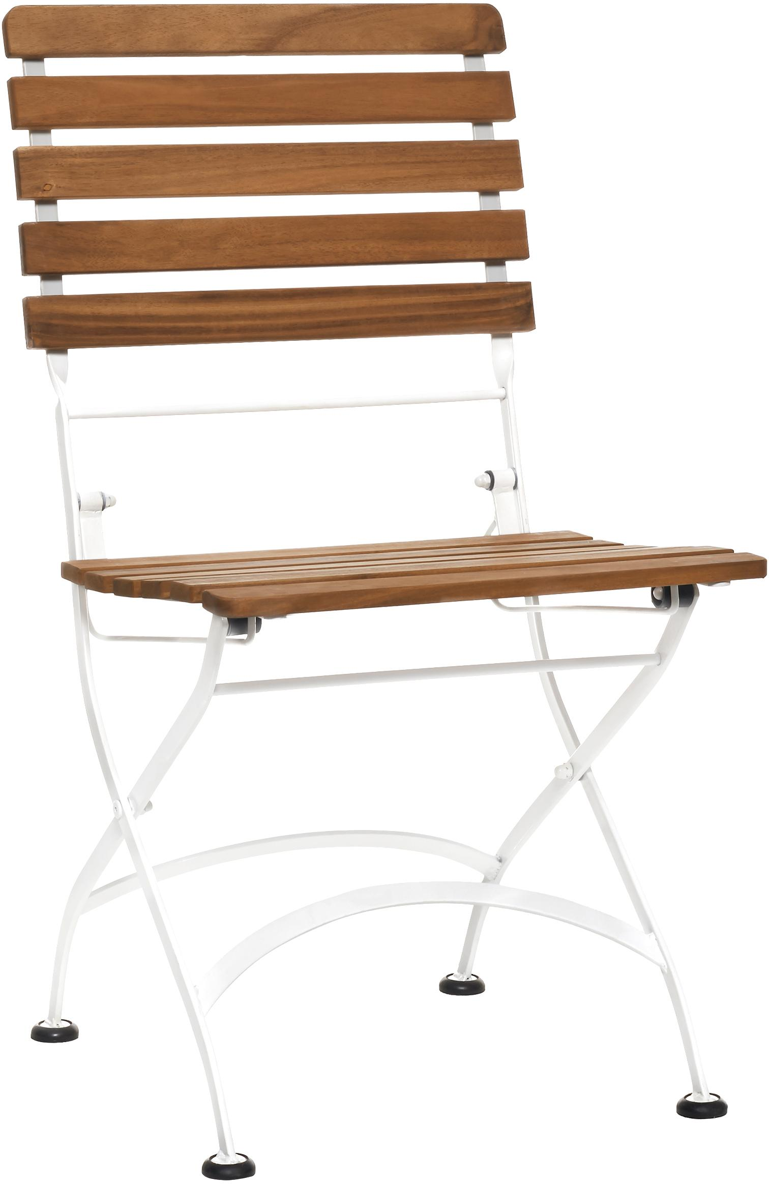 Sedia pieghevole Parklife 2 pz, Seduta: legno di acacia, oliato, , Struttura: metallo zincato, vernicia, Bianco, legno d'acacia, Larg. 47 x Prof. 59 cm