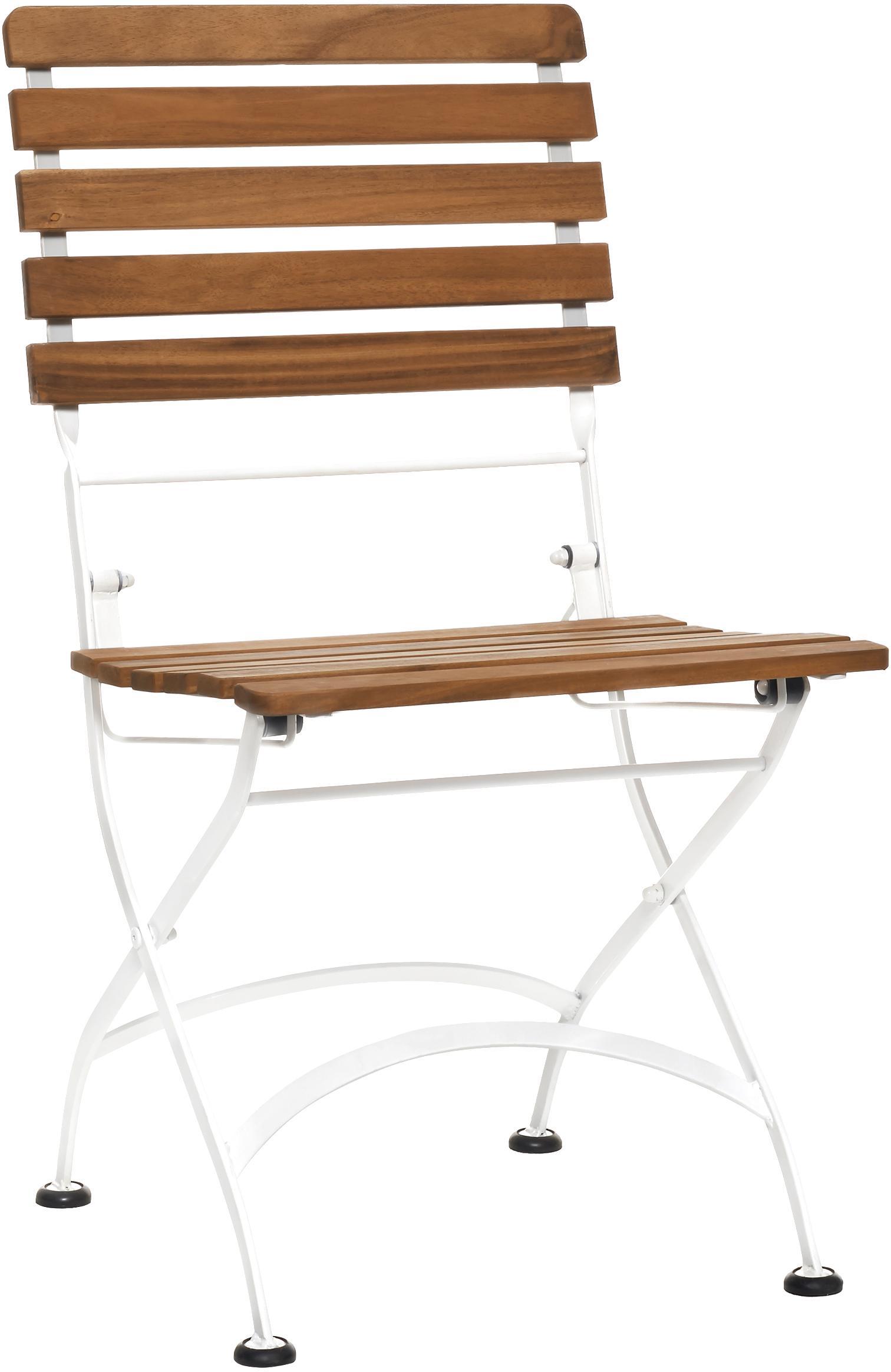 Sillas plegables de exterior Parklife, 2uds., Asiento: madera de acacia aceitada, Estructura: metal galvanizado con pin, Blanco, madera de acacia, An 47x F 59 cm