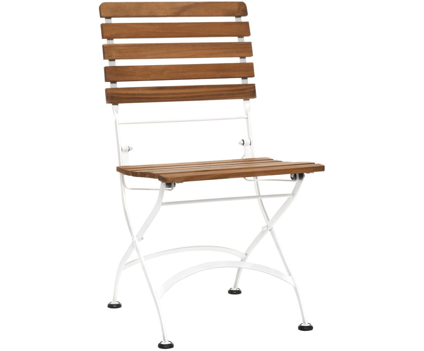 Garten-Klappstühle Parklife, 2 Stück, Sitzfläche: Akazienholz, geölt, Gestell: Metall, verzinkt, pulverb, Weiss, Akazienholz, B 47 x T 59 cm