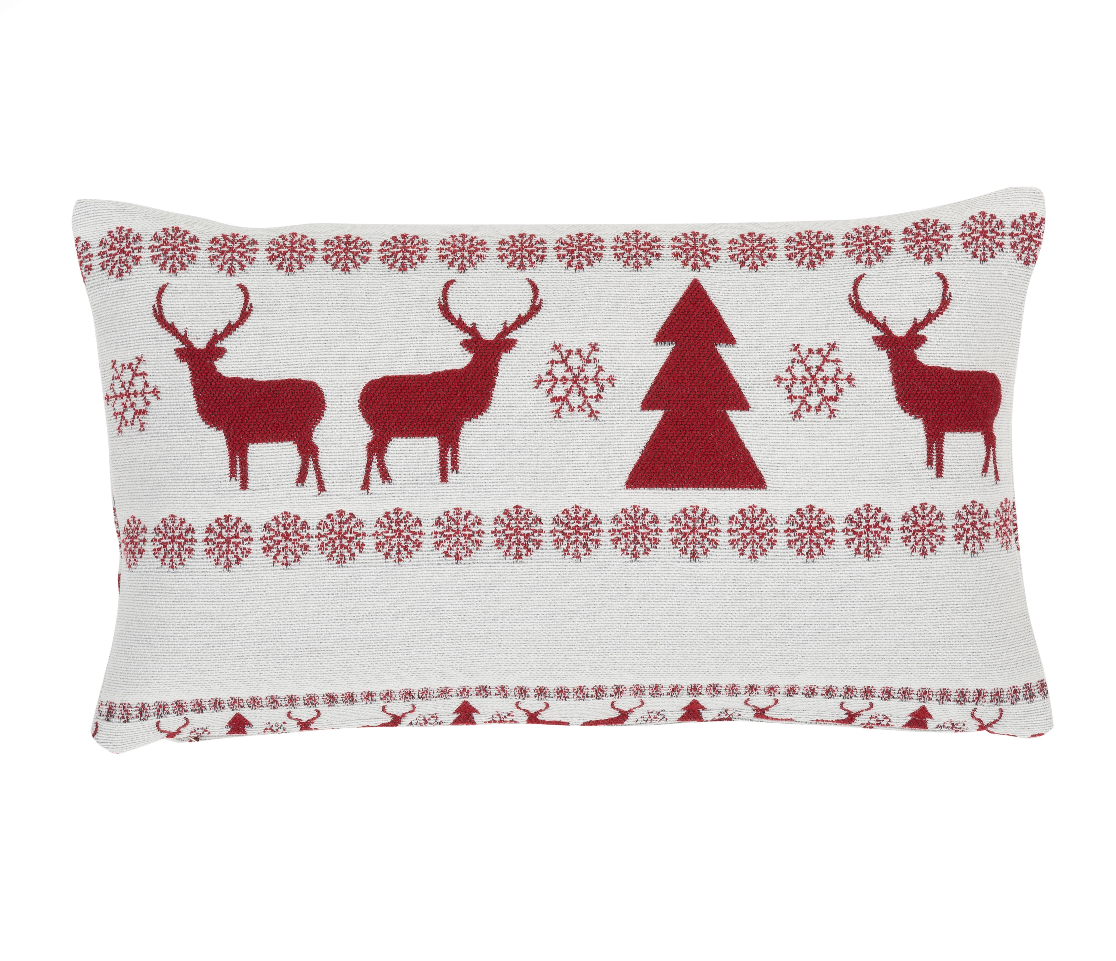 Kissenhülle Nordic Winter mit weihnachtlichem Muster, 56% Polyester, 31% Acryl, 13% Wolle, Cremeweiß, Rot, 30 x 50 cm
