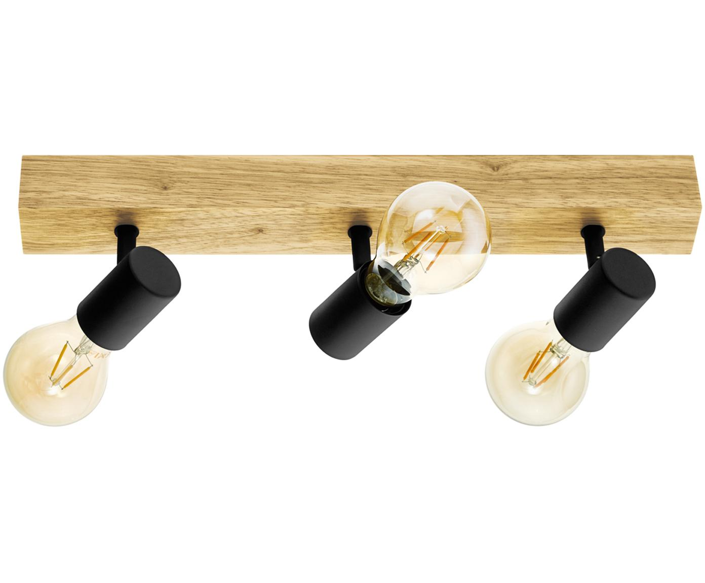 Lampa sufitowa Townshend, Czarny, drewno naturalne, S 48 x W 13 cm