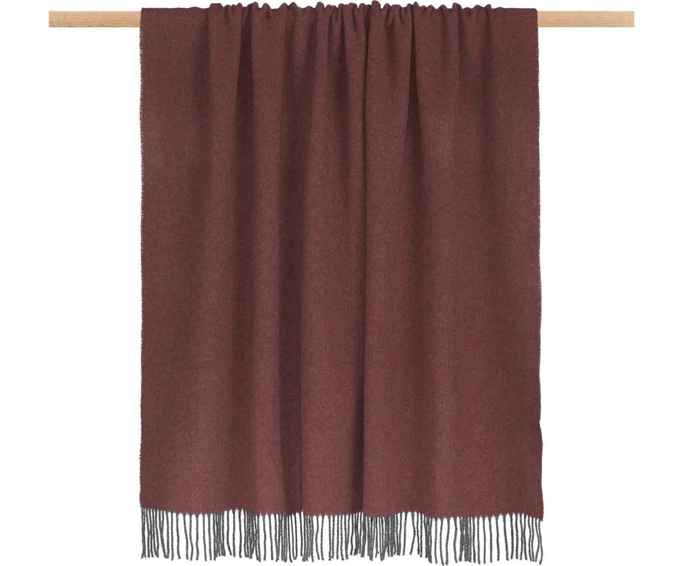 Manta de cachemira Liliana, 80%lana, 20%cachemir, Rojo, gris, An 130 x L 170 cm