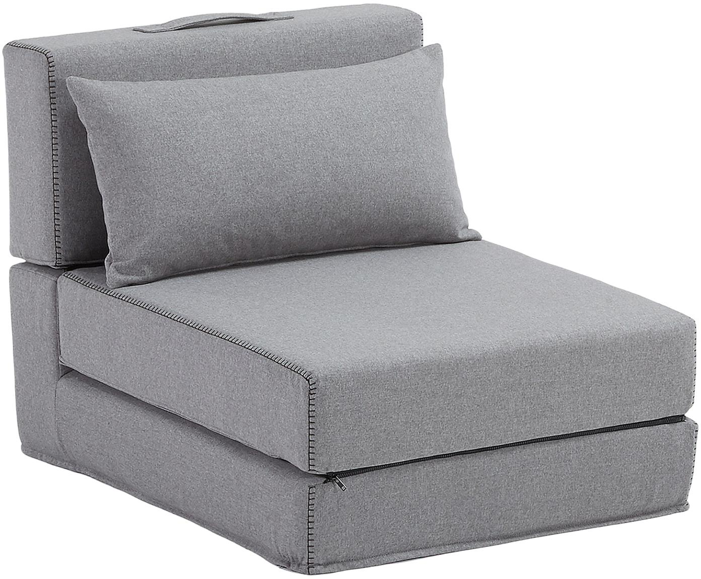 Poltrona letto singolo pieghevole in tessuto grigio Arty, Rivestimento: poliestere, Grigio, Larg. 70 x Alt. 67 cm