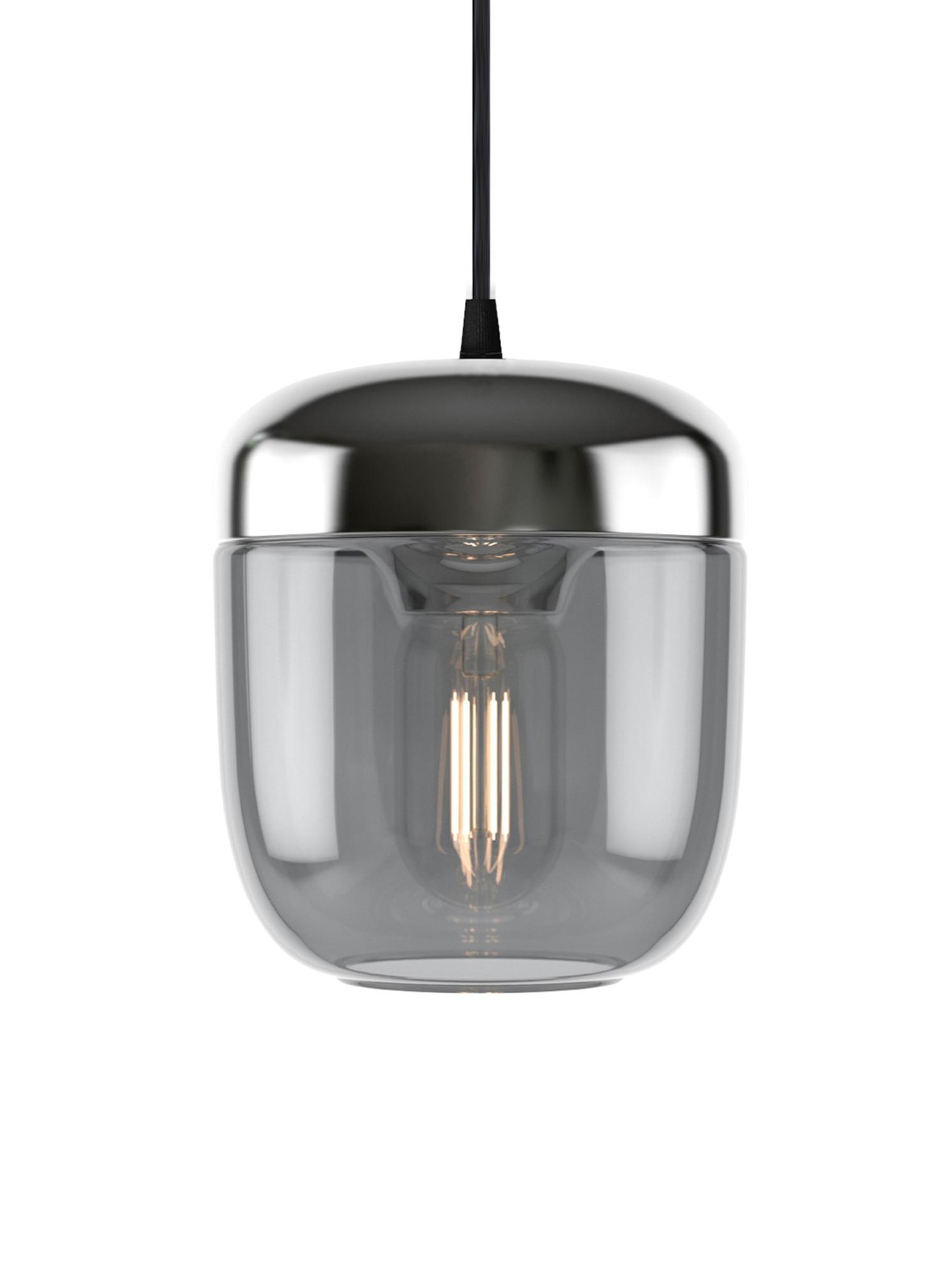Kleine Pendelleuchte Acorn, Baldachin: Silikon, Grau, Aluminium, Ø 14 x H 16 cm