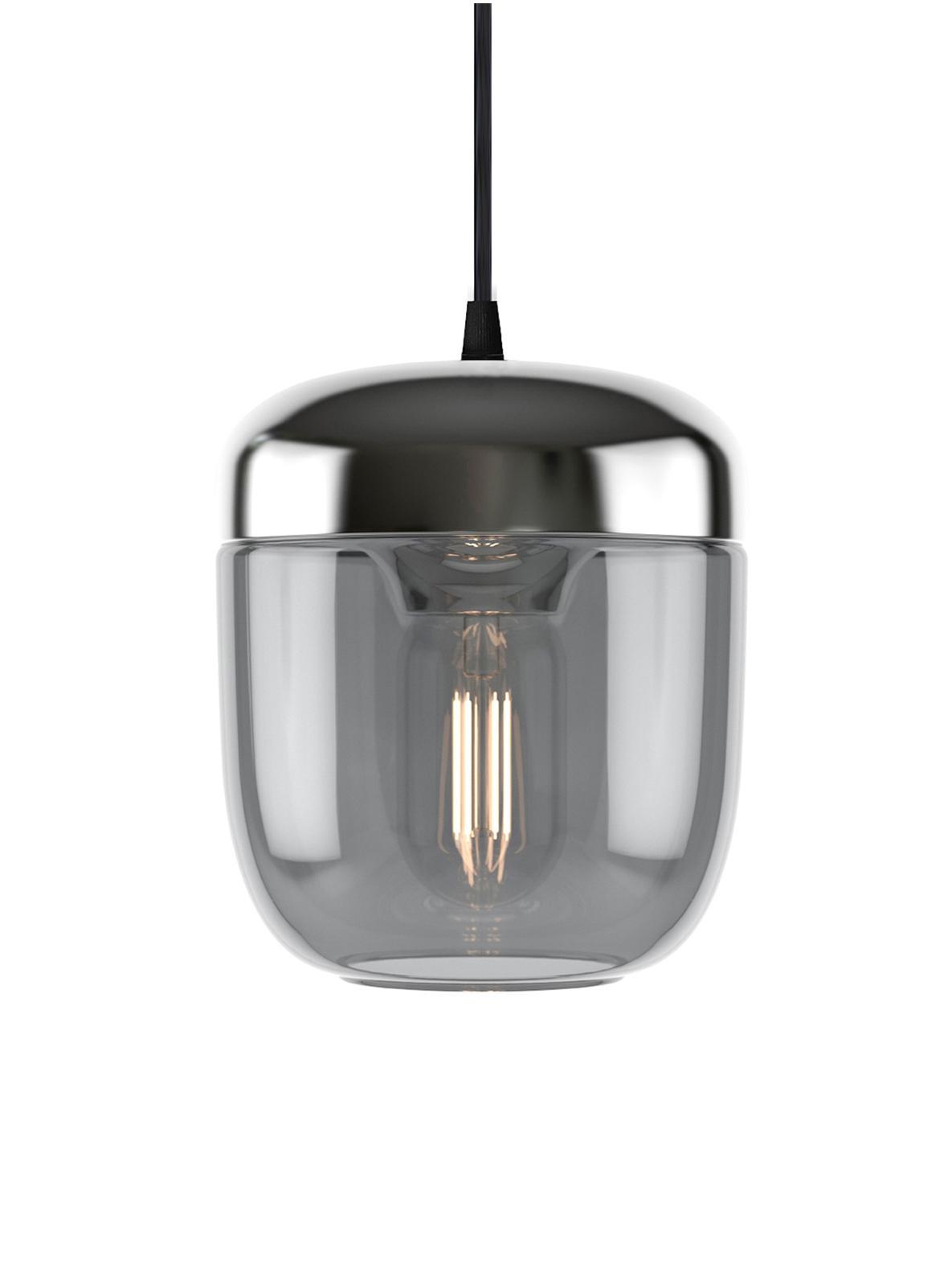 Lampada a sospensione Acorn, Baldacchino: silicone, Grigio, alluminio, Ø 14 x Alt. 16 cm